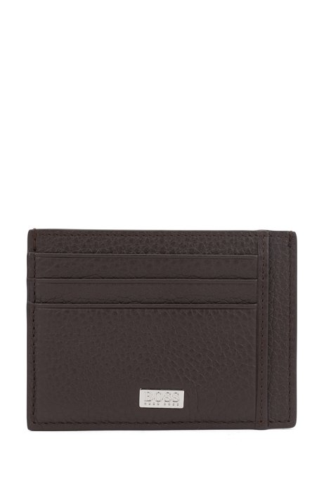 Six-slot card case in grained Italian leather, Dark Brown