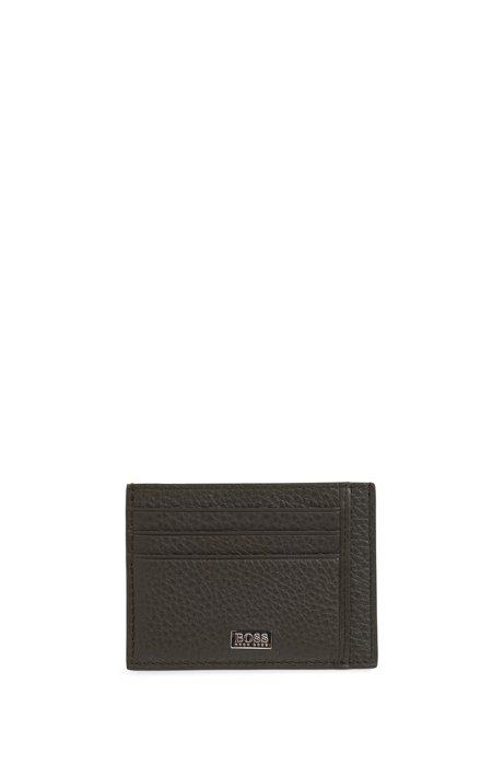Kartenetui aus genarbtem italienischem Leder mit sechs Fächern, Dunkelgrün