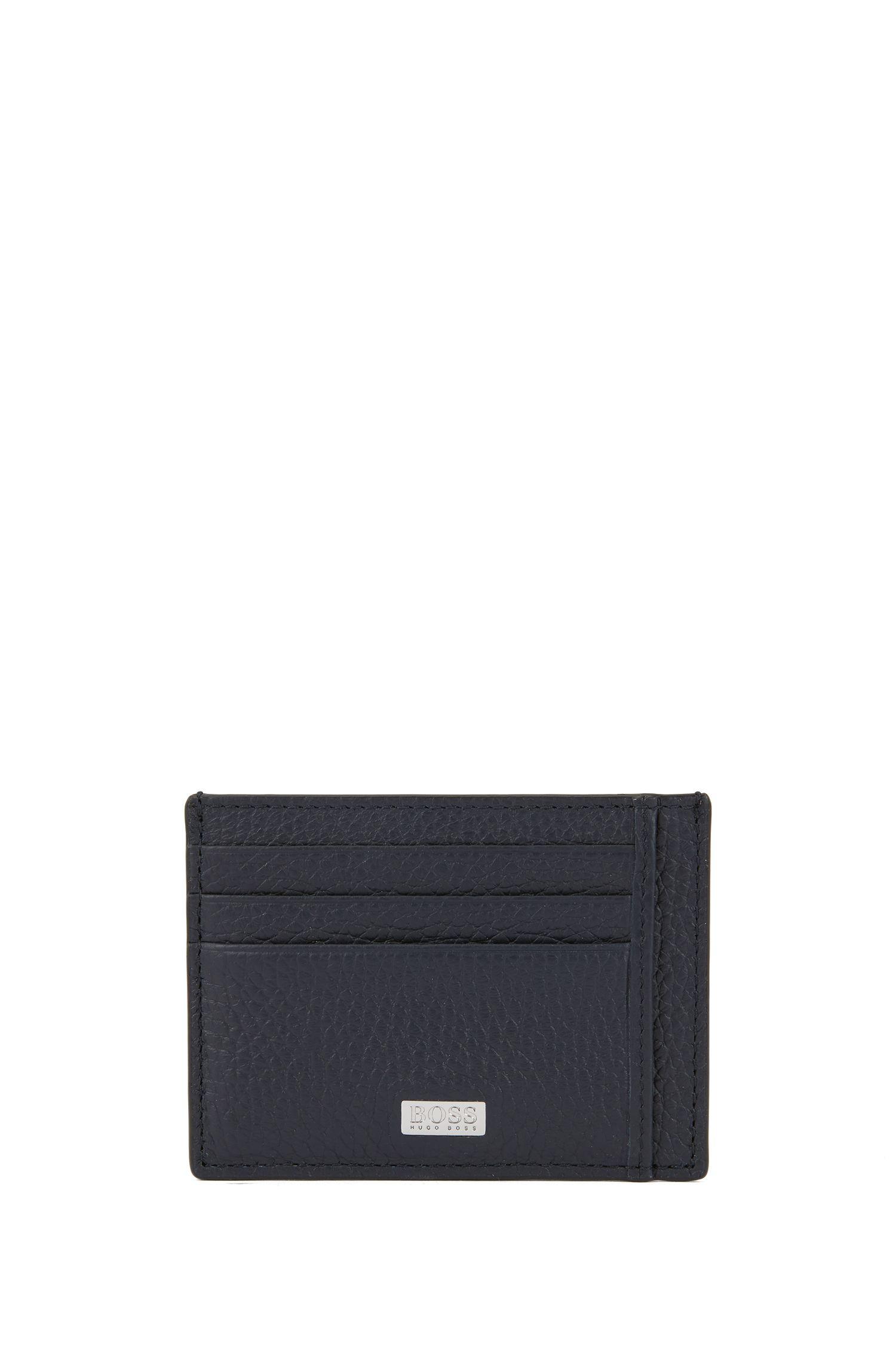 Six-slot card case in grained Italian leather, Dark Blue