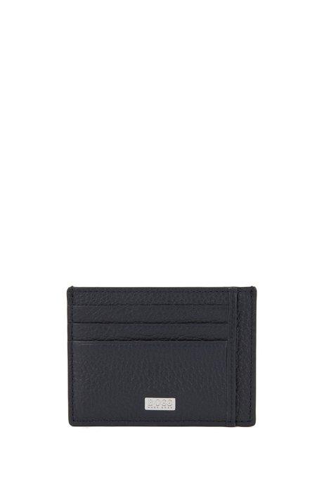 Kartenetui aus genarbtem italienischem Leder mit sechs Fächern, Dunkelblau