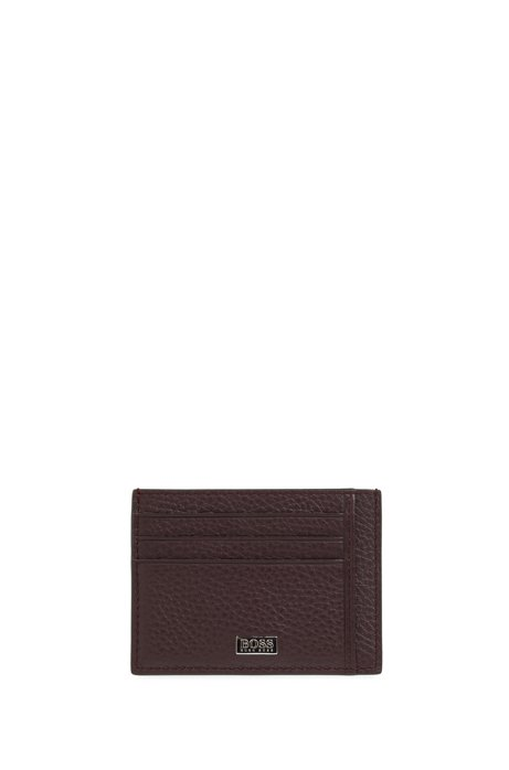 Six-slot card case in grained Italian leather, Dark Red