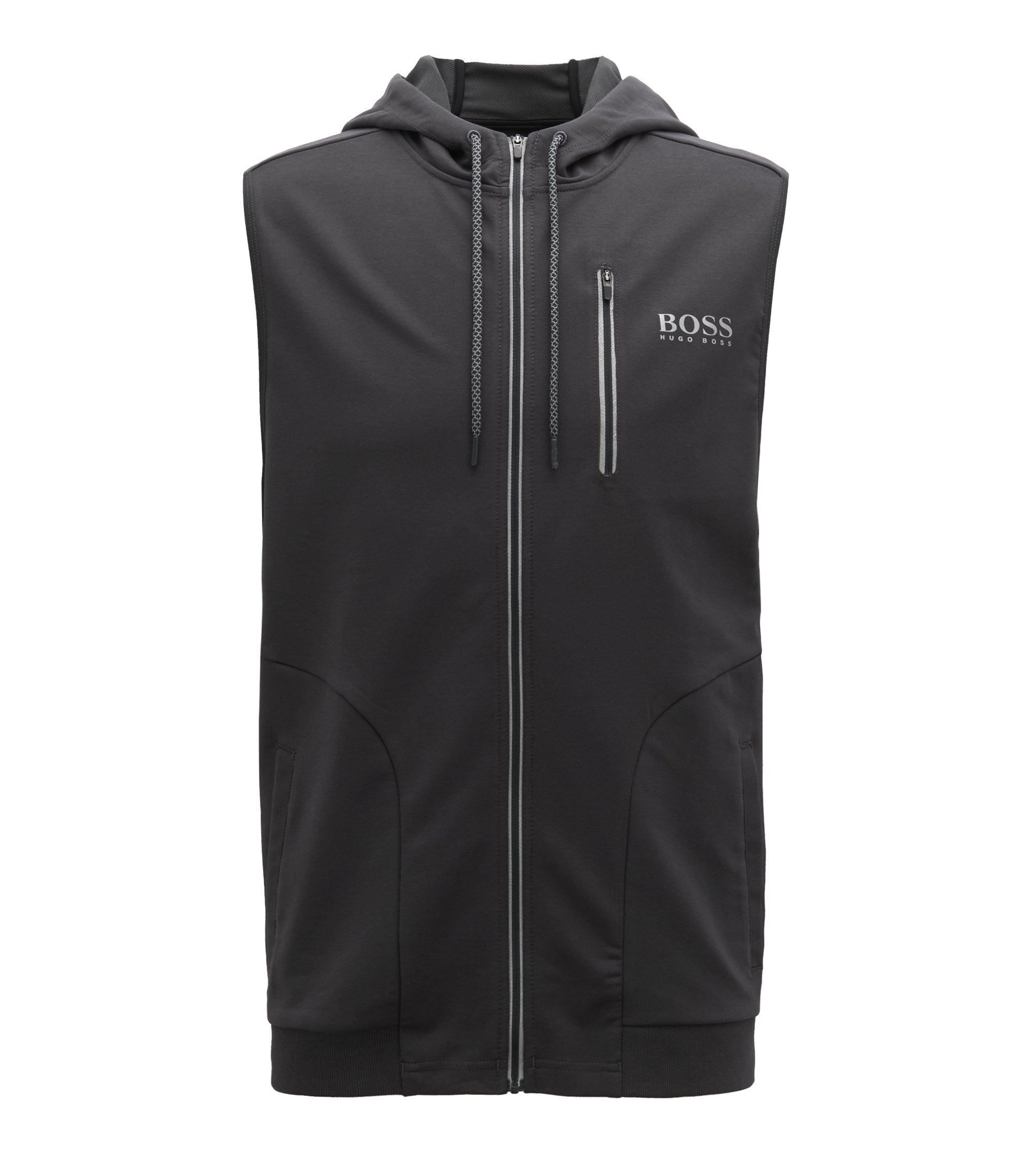 Hooded beach jacket in stretch jersey, Anthracite