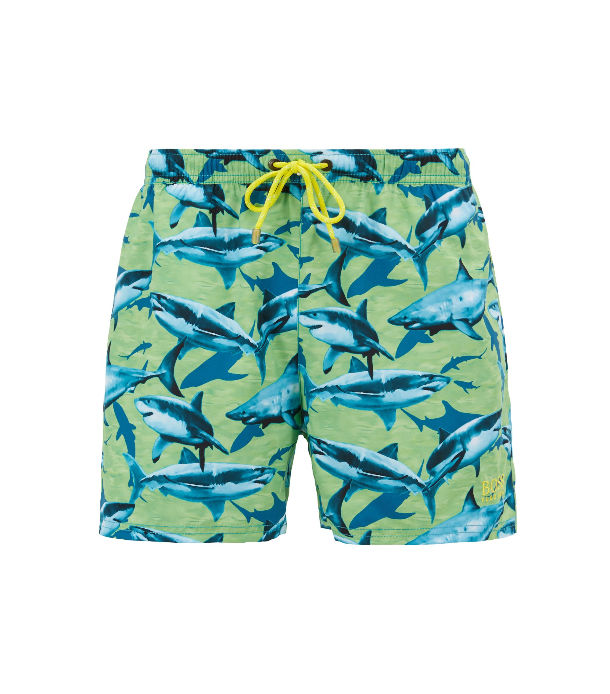 Shorter-length swim shorts with sea-life print, Green