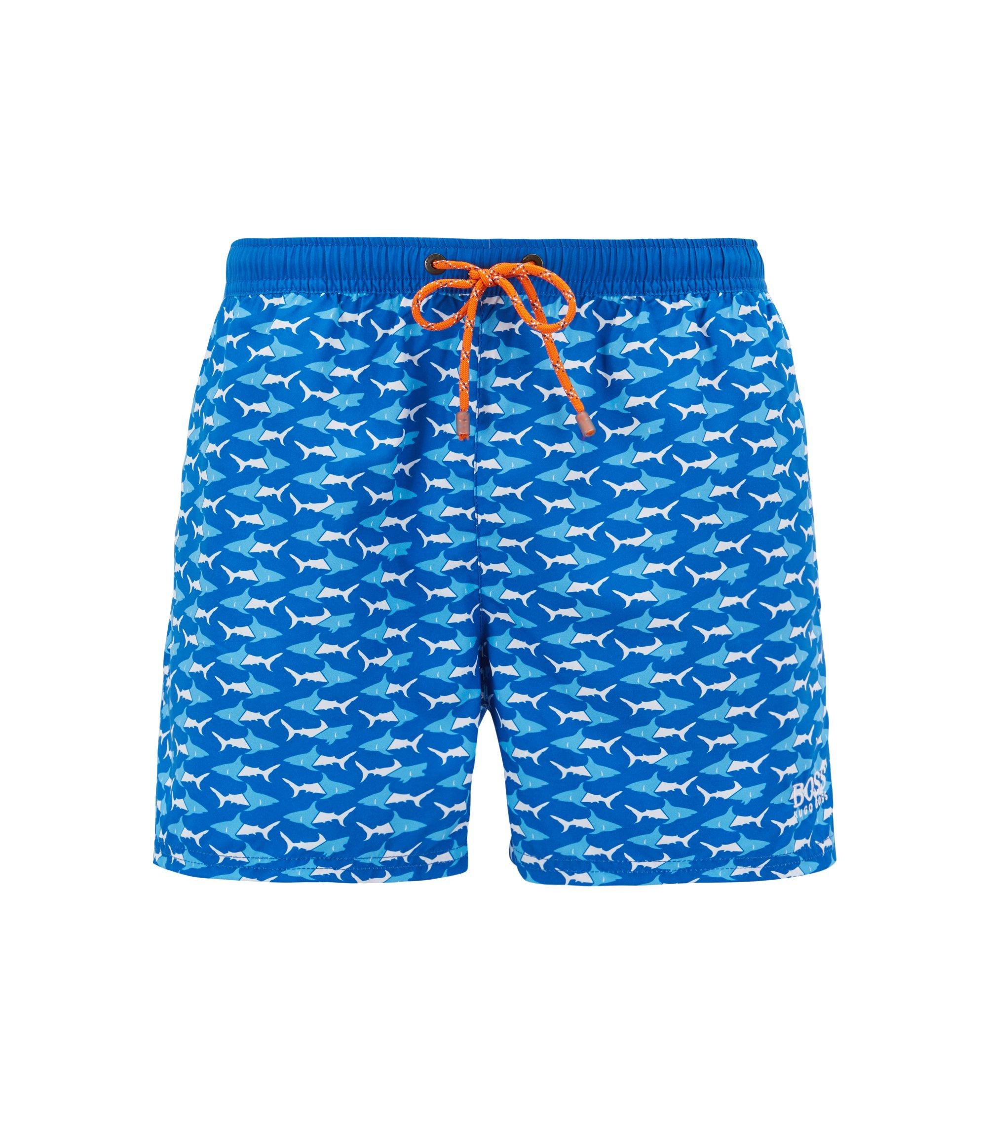Badeshorts in Cropped-Länge mit Meerestier-Print, Blau