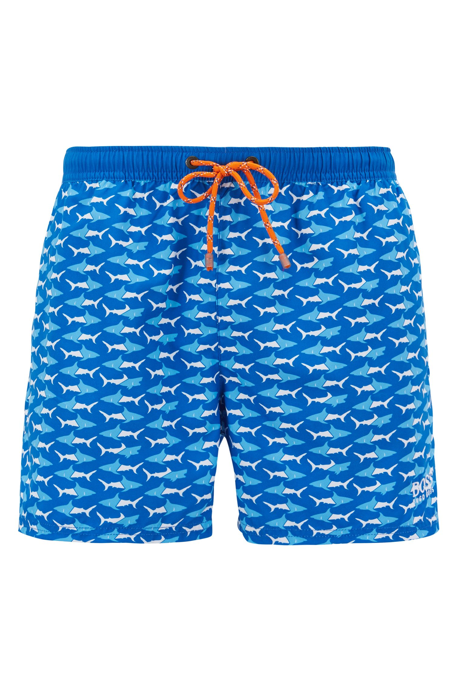 Boxer da bagno corti con stampa con pesci, Blu