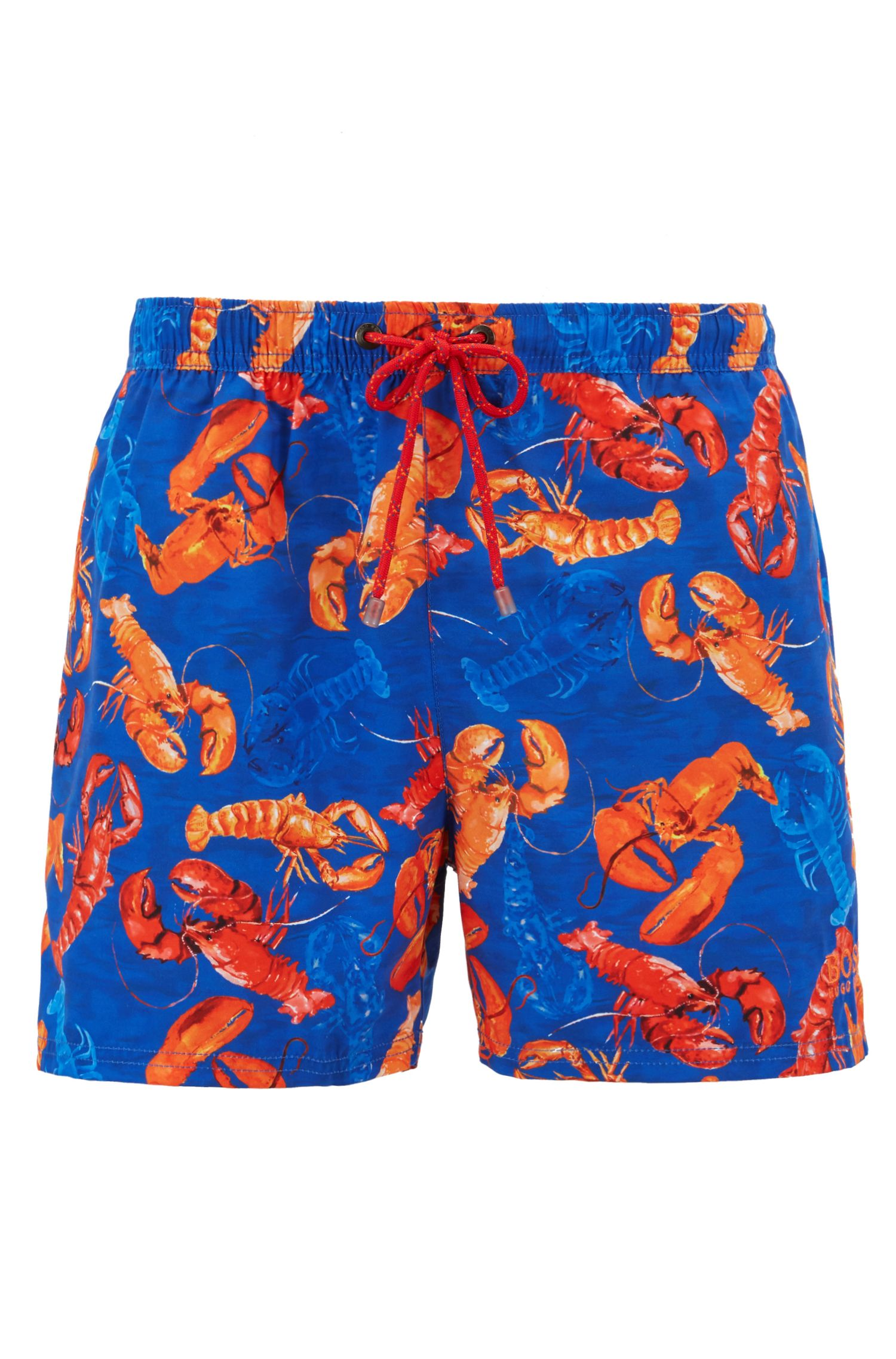 Shorter-length swim shorts with sea-life print, Dark Blue