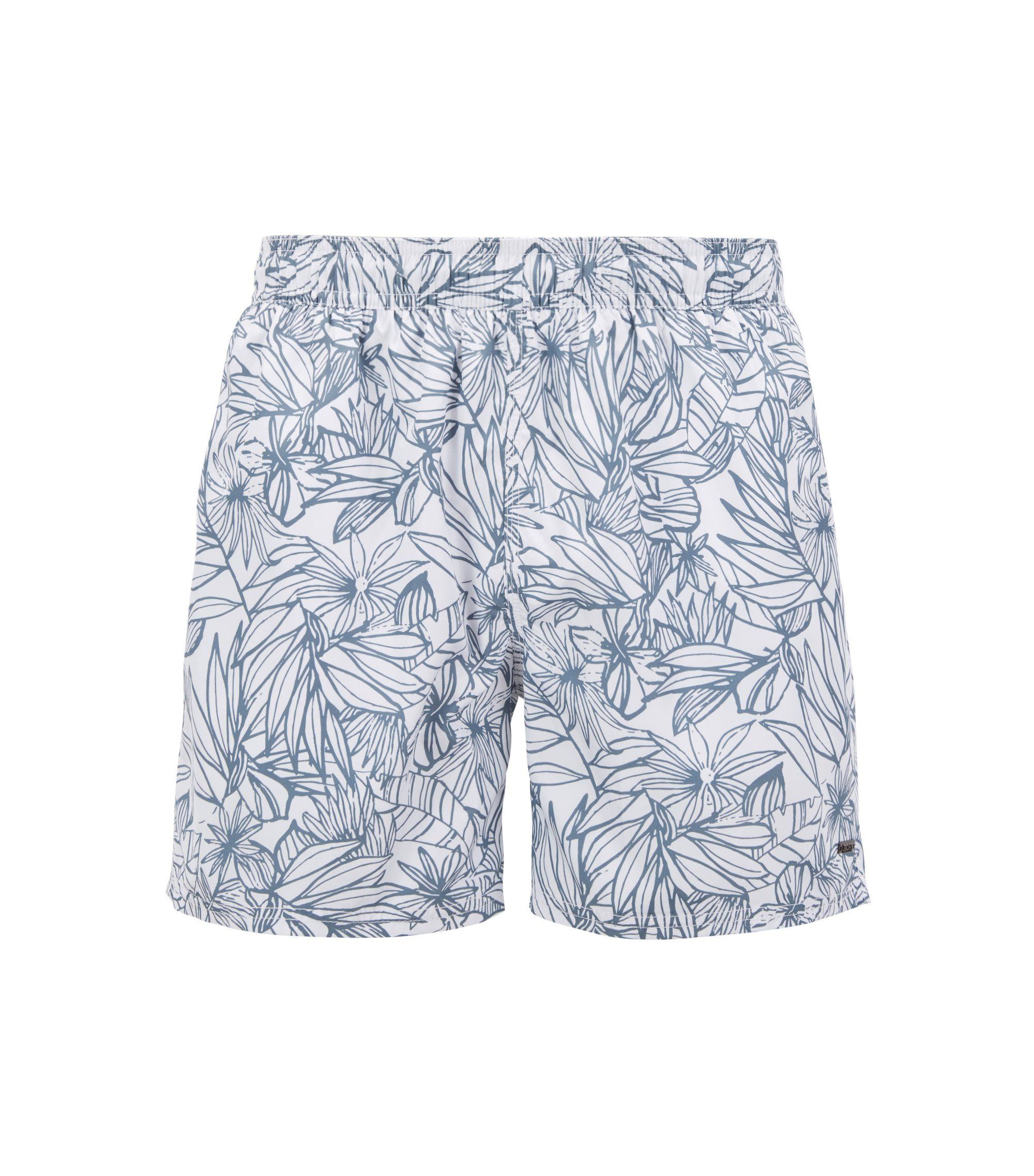 Flower-print swim shorts with elasticated waistband , White