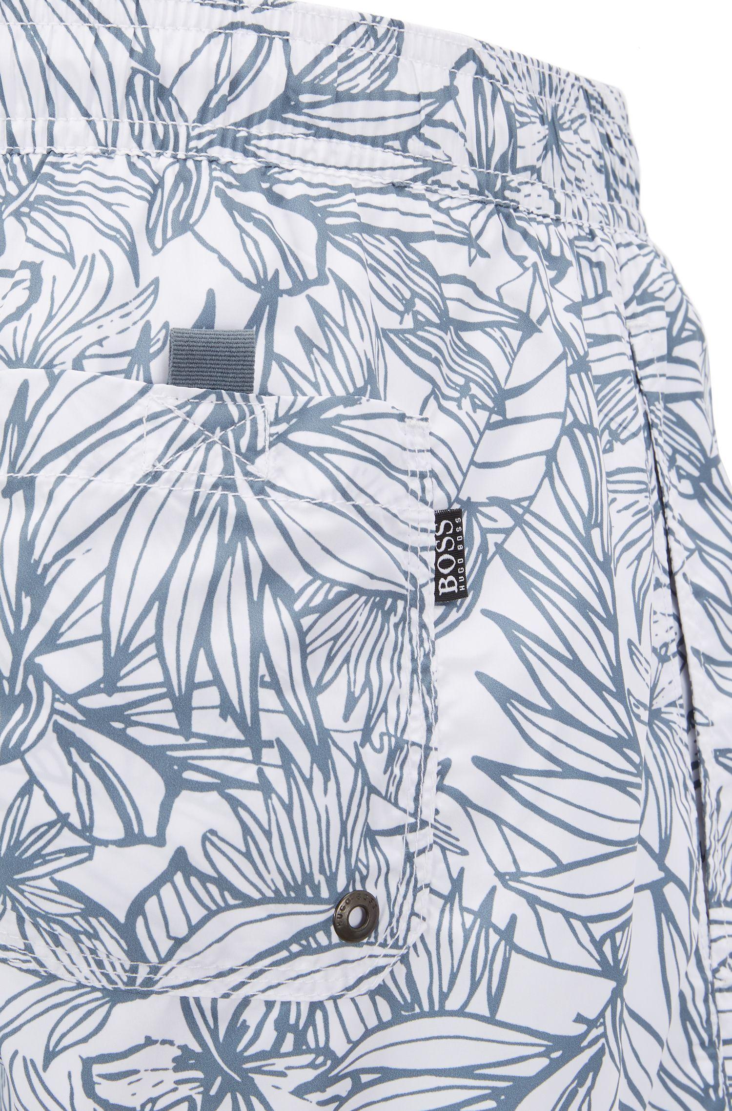 Zwemshort met bloemenprint en elastische tailleband , Wit