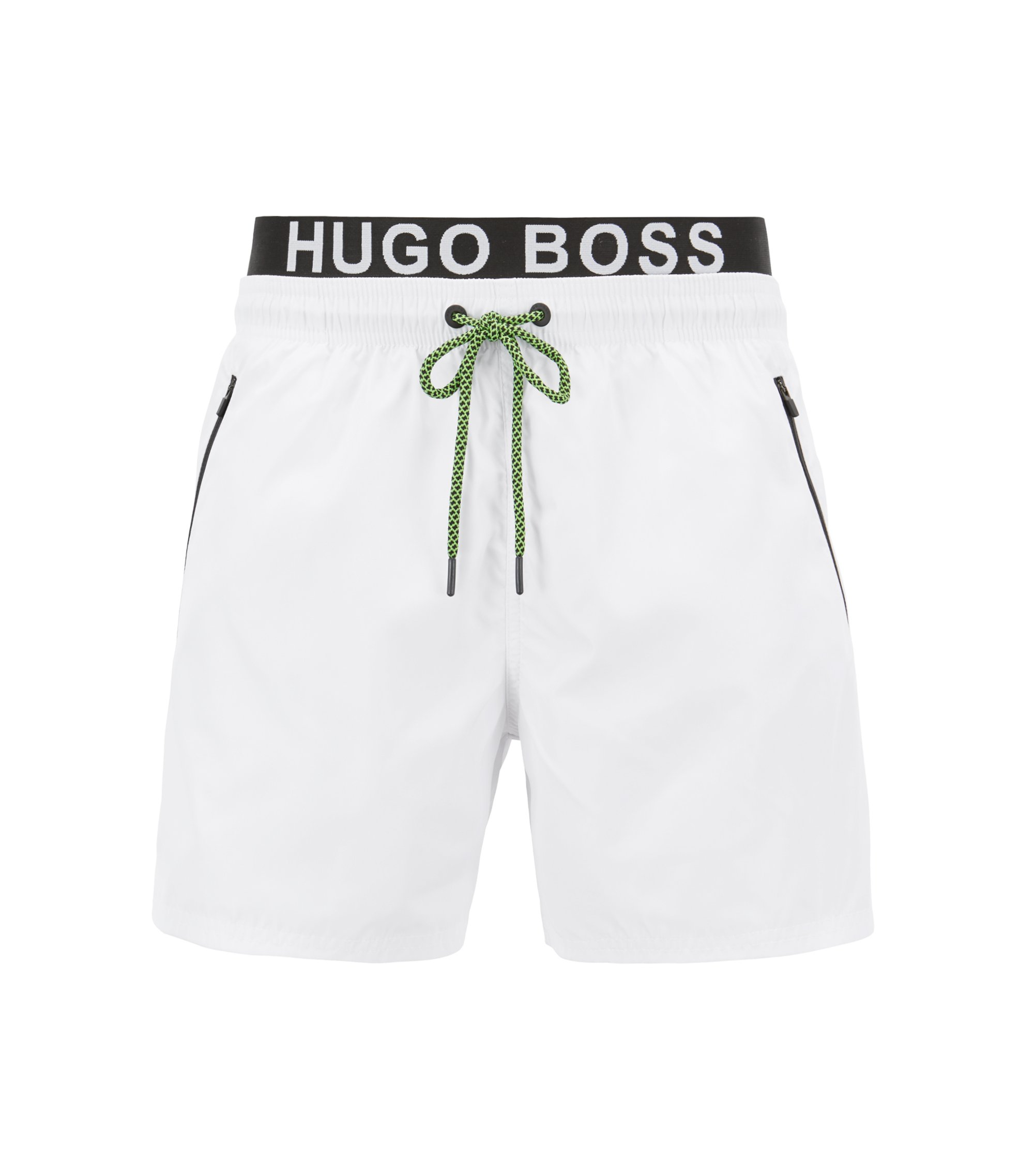 Lightweight swim shorts with double waistband, Open White