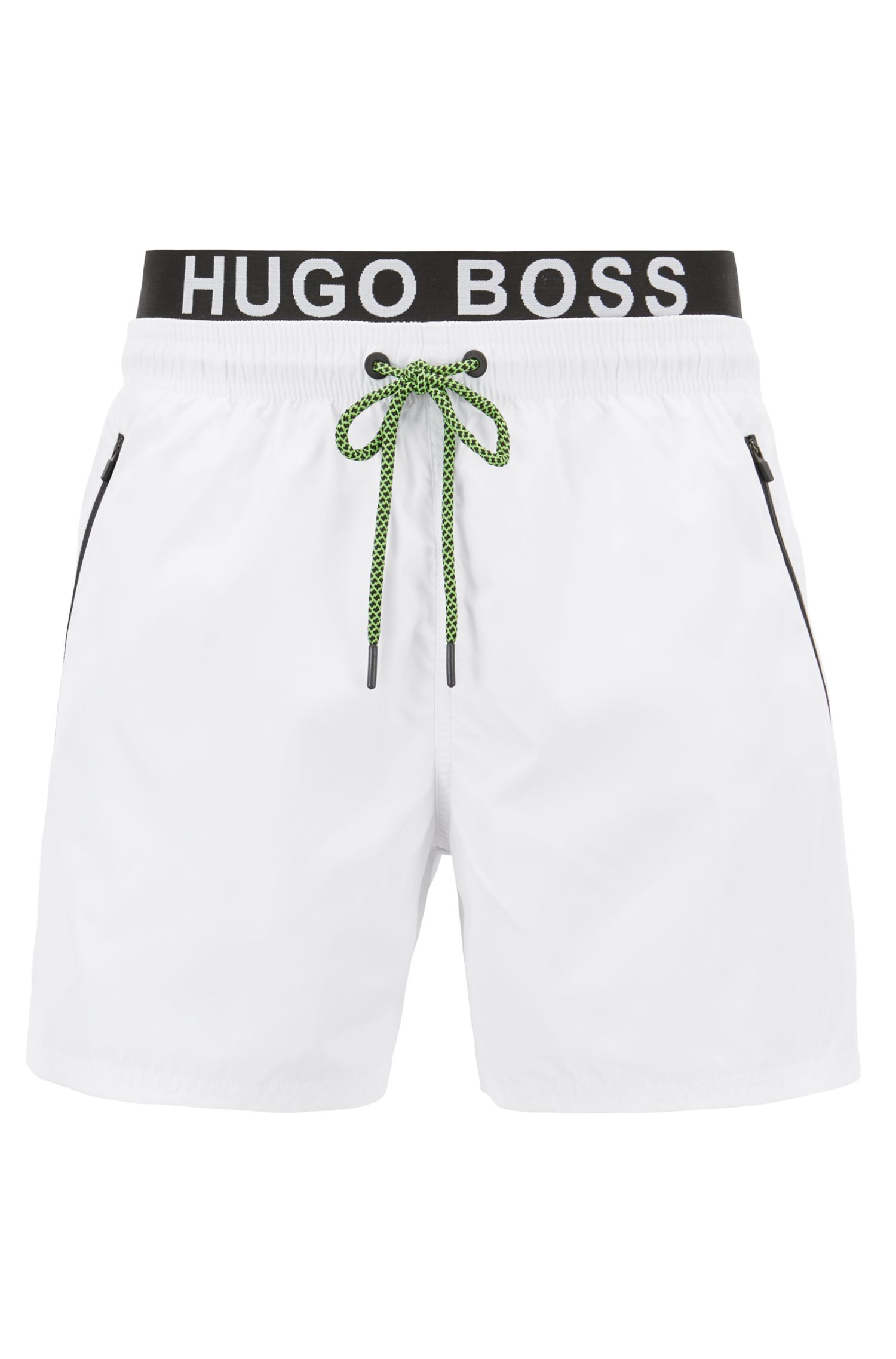 Lightweight swim shorts with double waistband