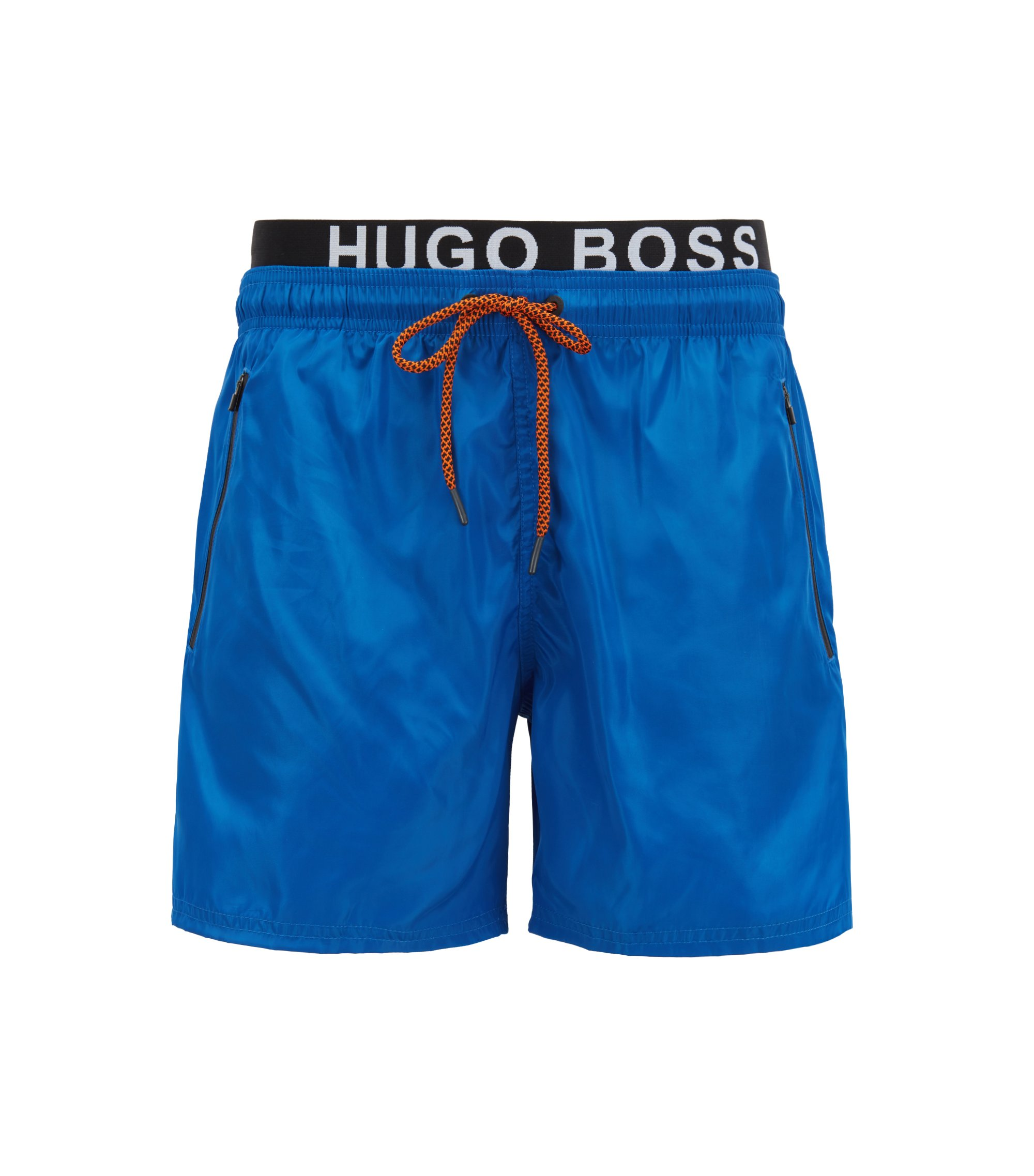 Lightweight swim shorts with double waistband, Blue