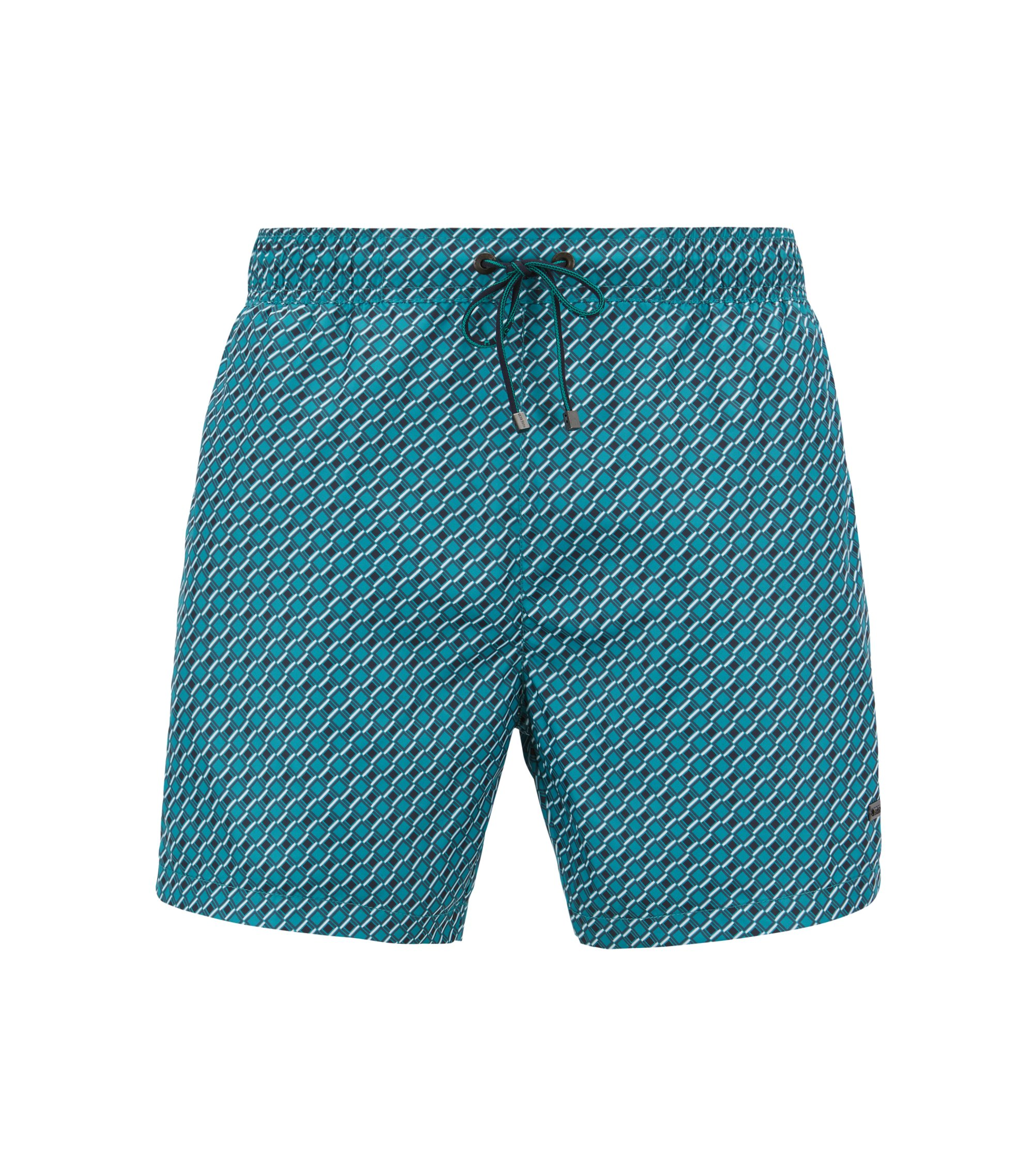 Lightweight patterned swim shorts with elasticated waistband, Green