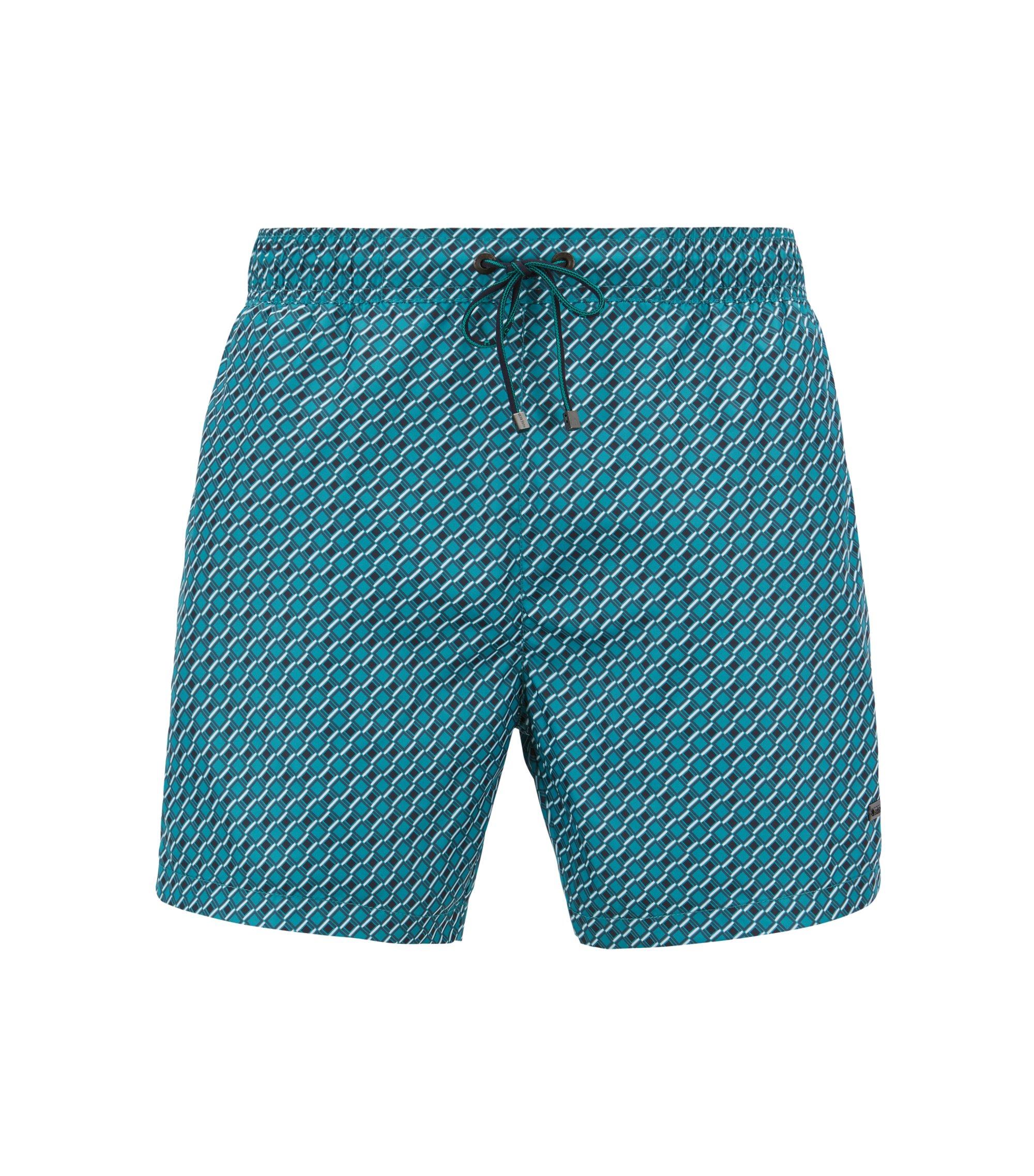 Lichte zwemshort met dessin en elastische tailleband, Groen