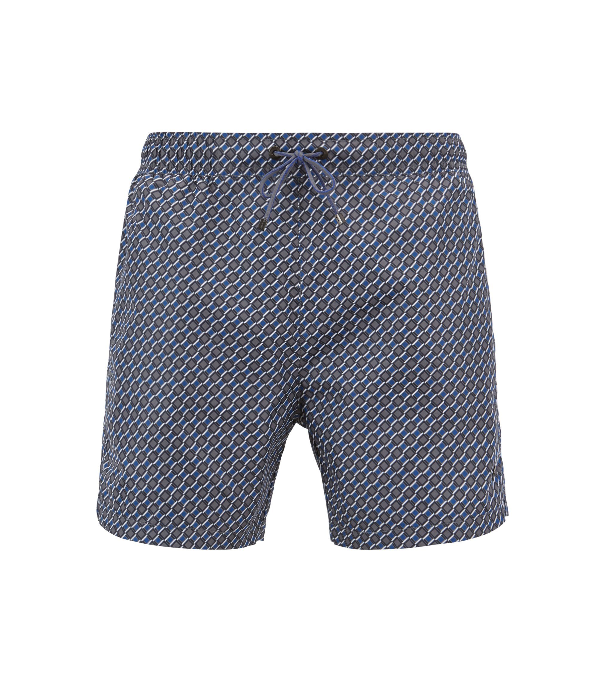 Lightweight patterned swim shorts with elasticated waistband, Open Blue