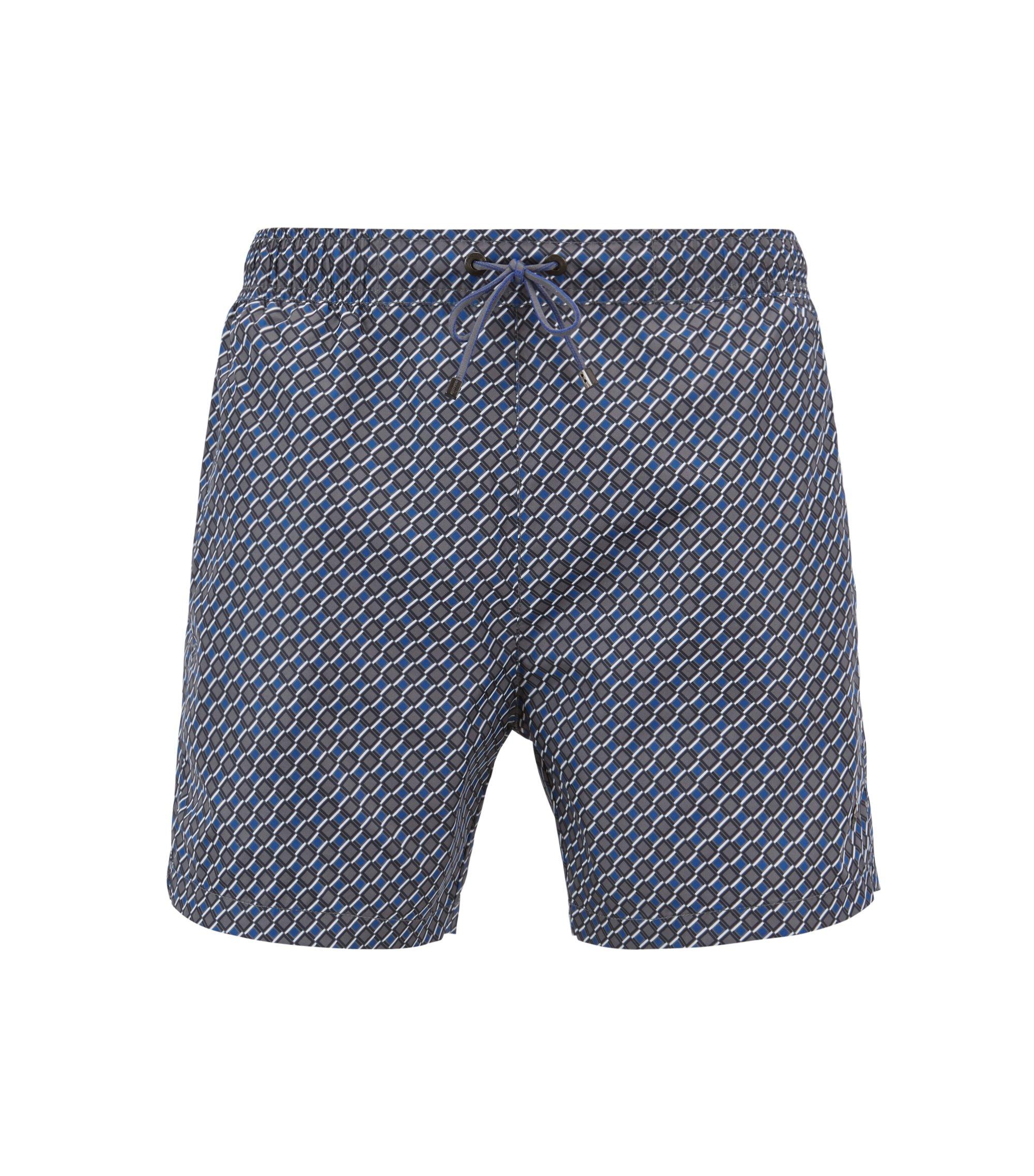 Léger short de bain à motif doté d'une taille élastique, Bleu vif
