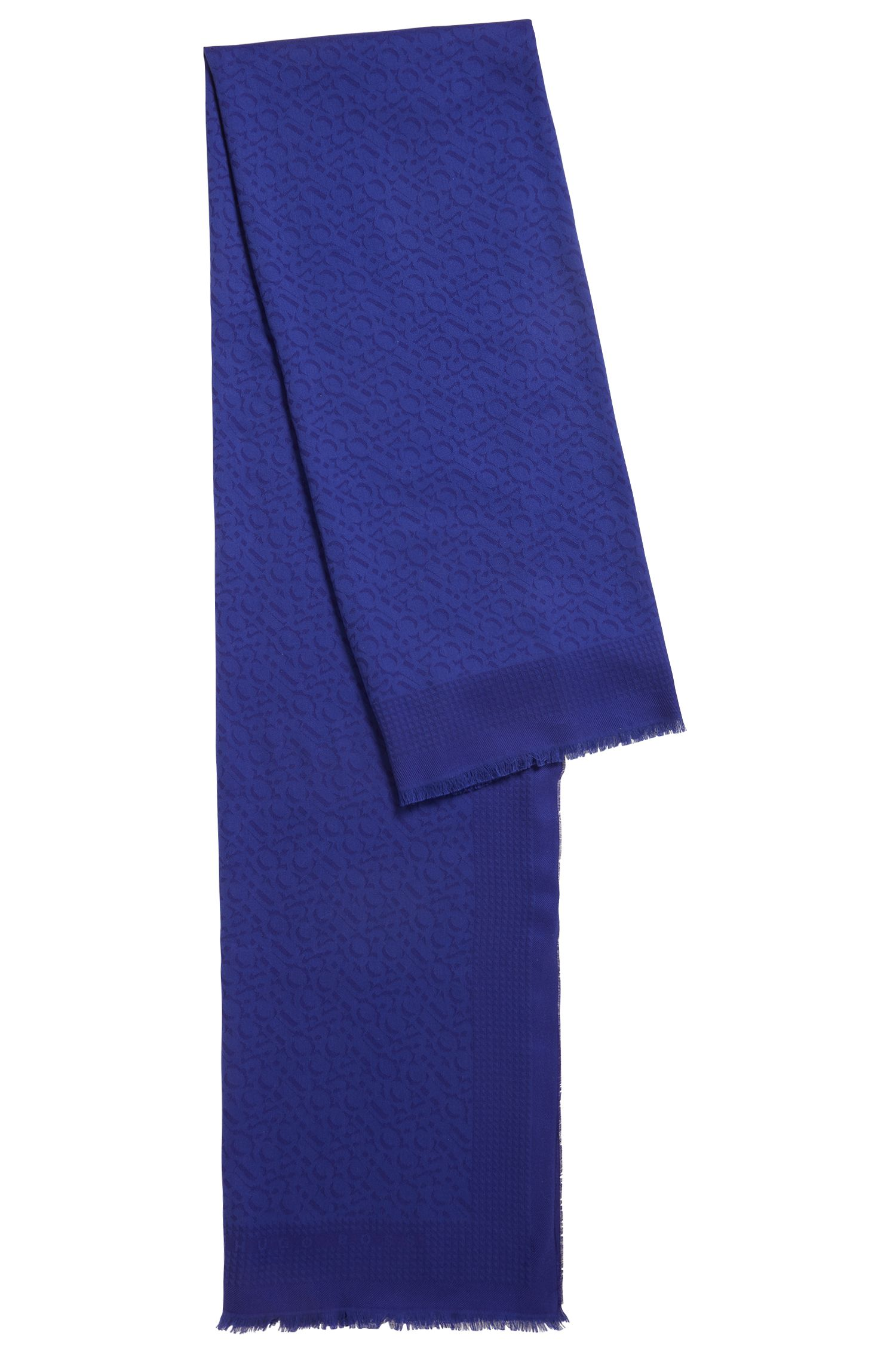Cotton-blend scarf with tonal jacquard logo, Open Purple