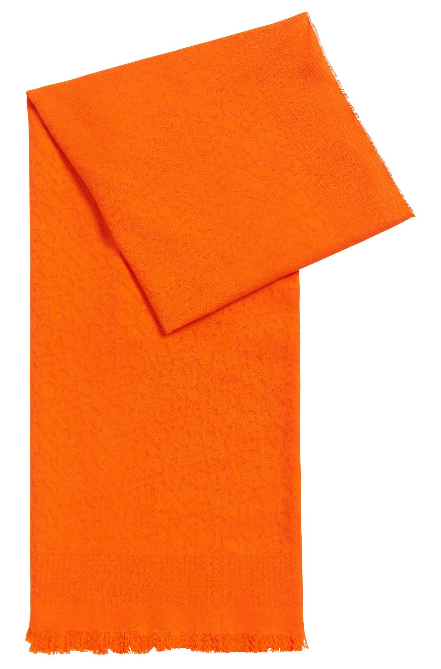 Pañuelo en mezcla de algodón de jacquard tonal con logo, Naranja