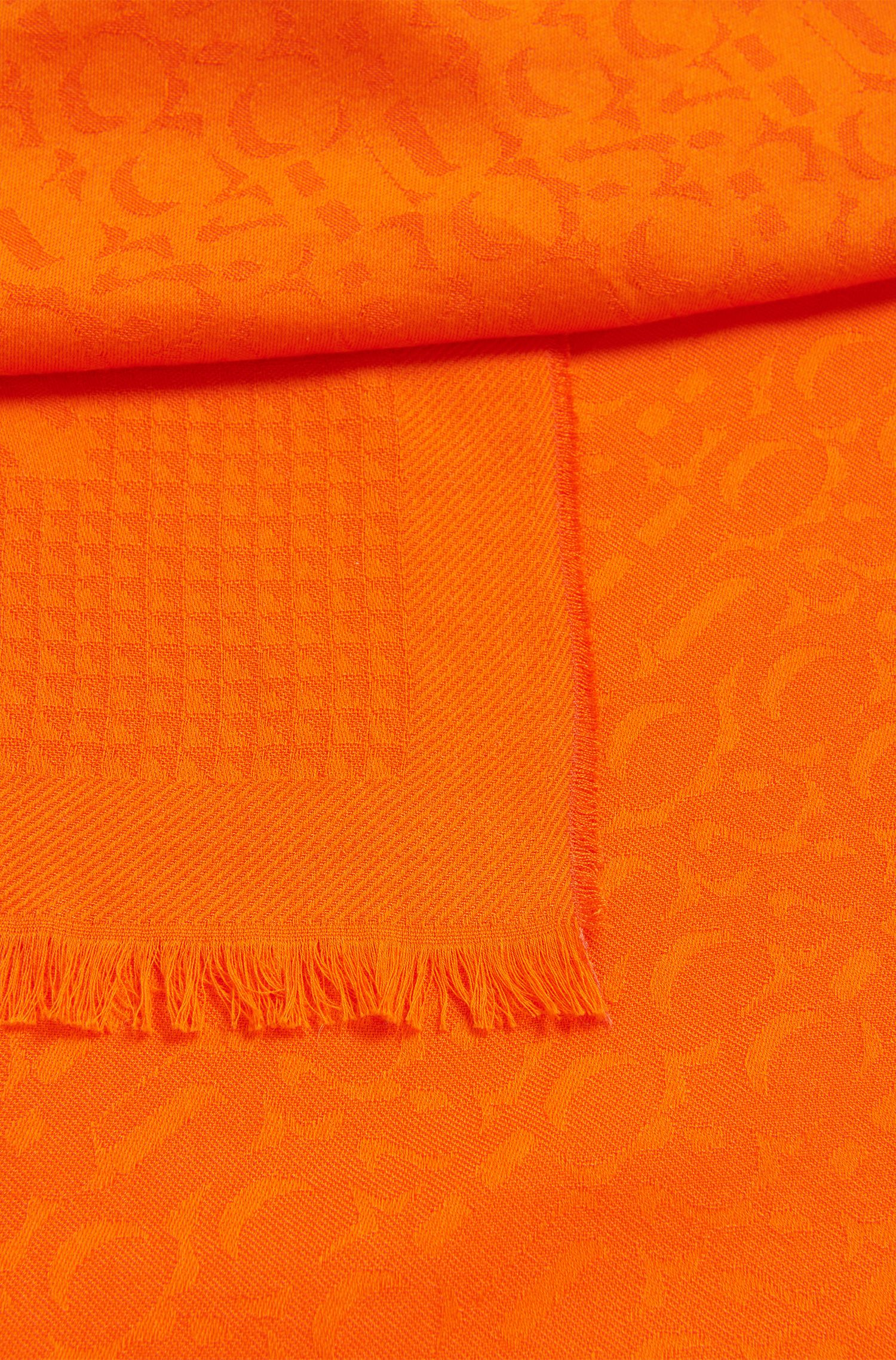 Cotton-blend scarf with tonal jacquard logo, Orange