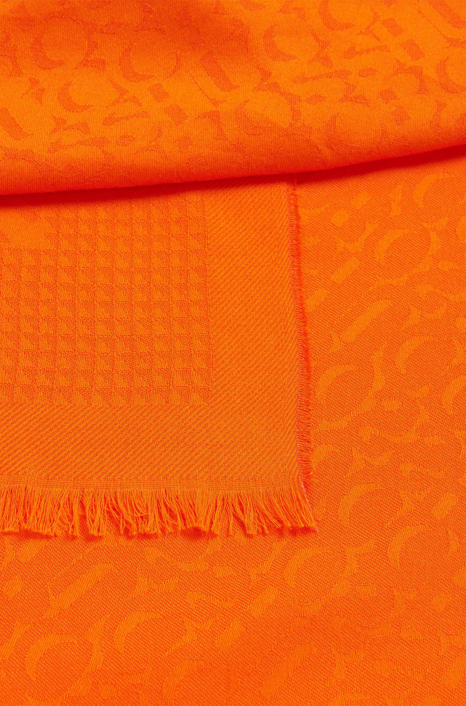 Jacquard-Schal aus Baumwoll-Mix mit Logos, Orange