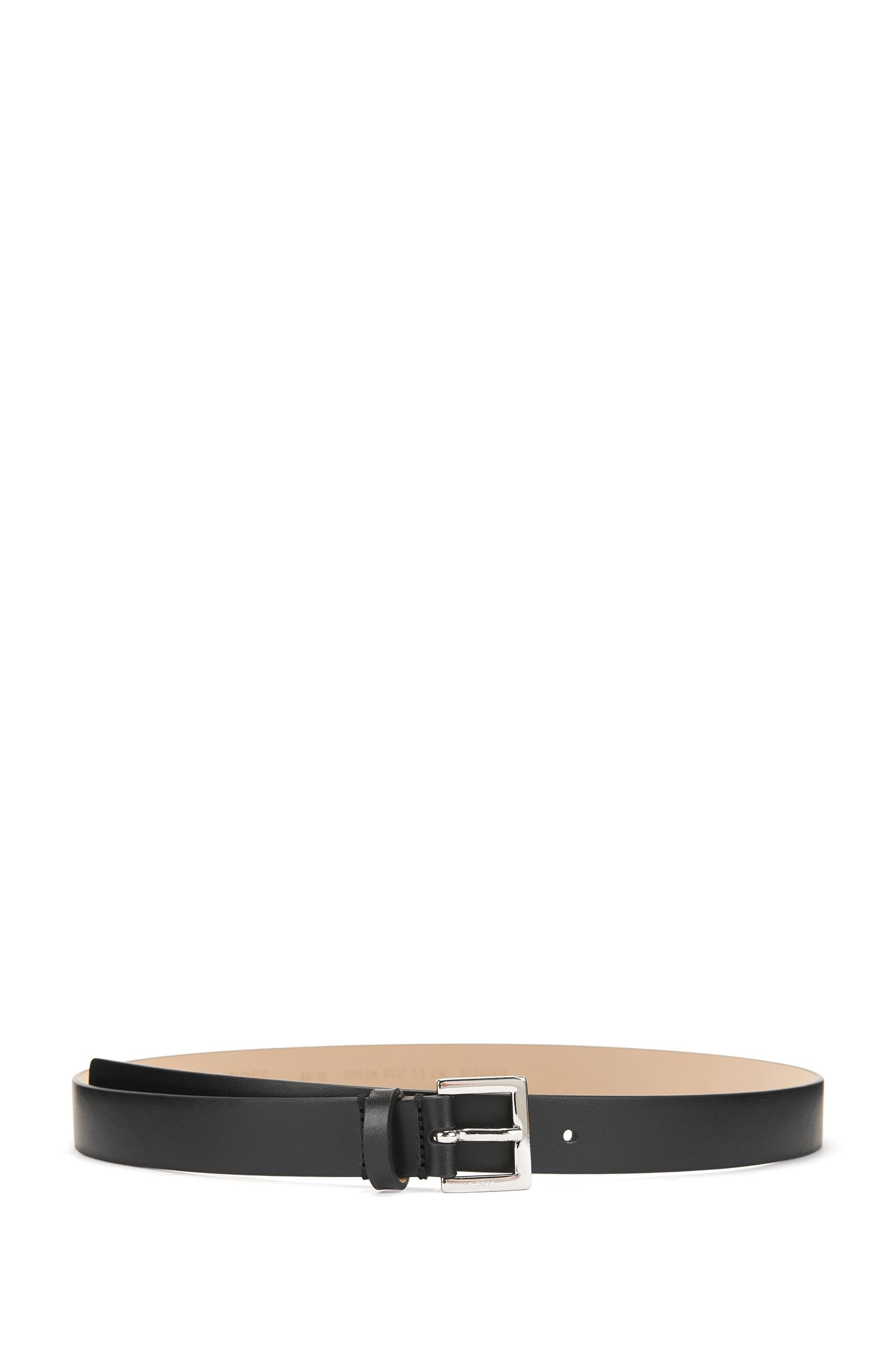 Italian-made belt in smooth calf leather, Black