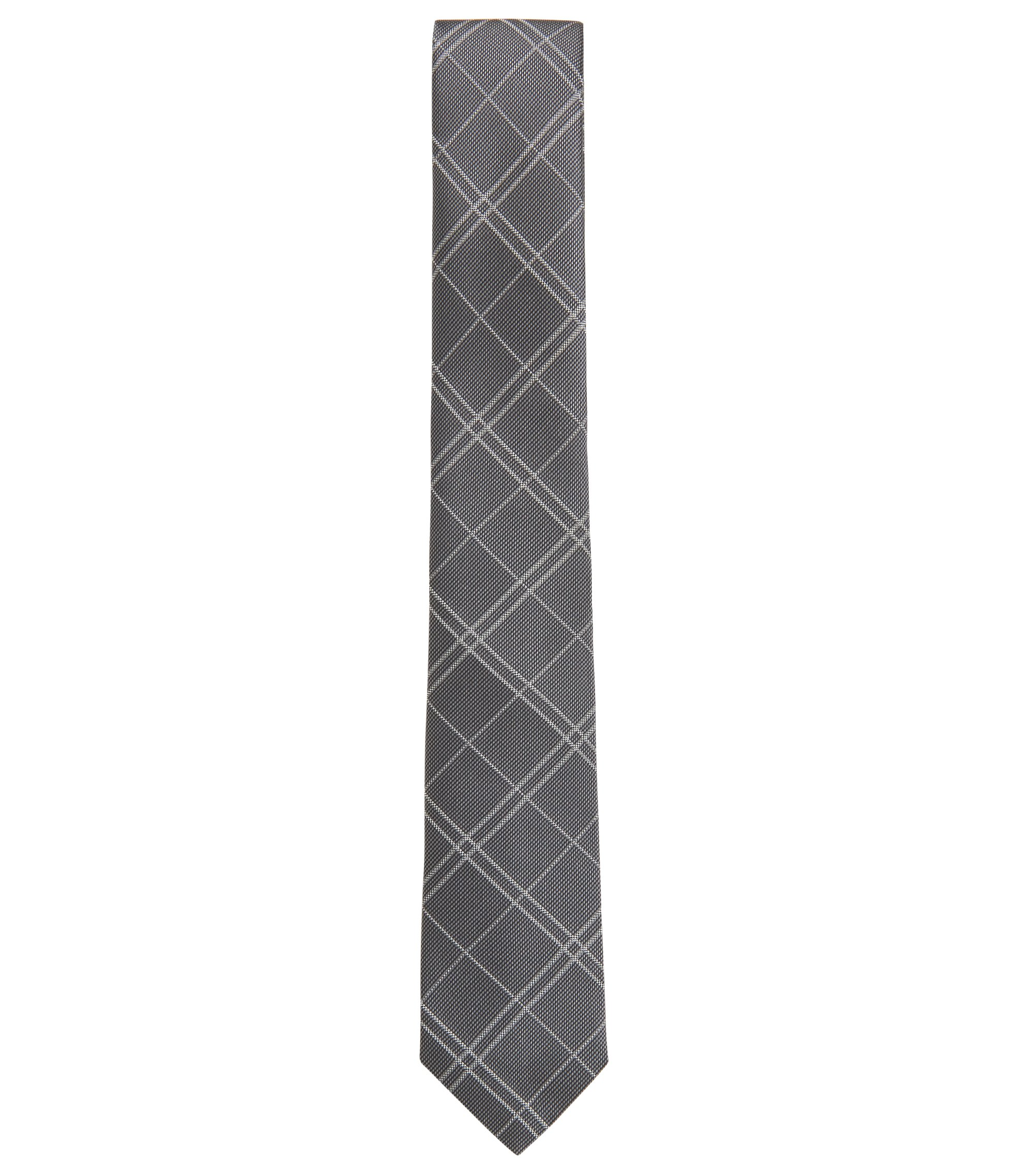 Handmade plain-check tie in silk jacquard, Grey