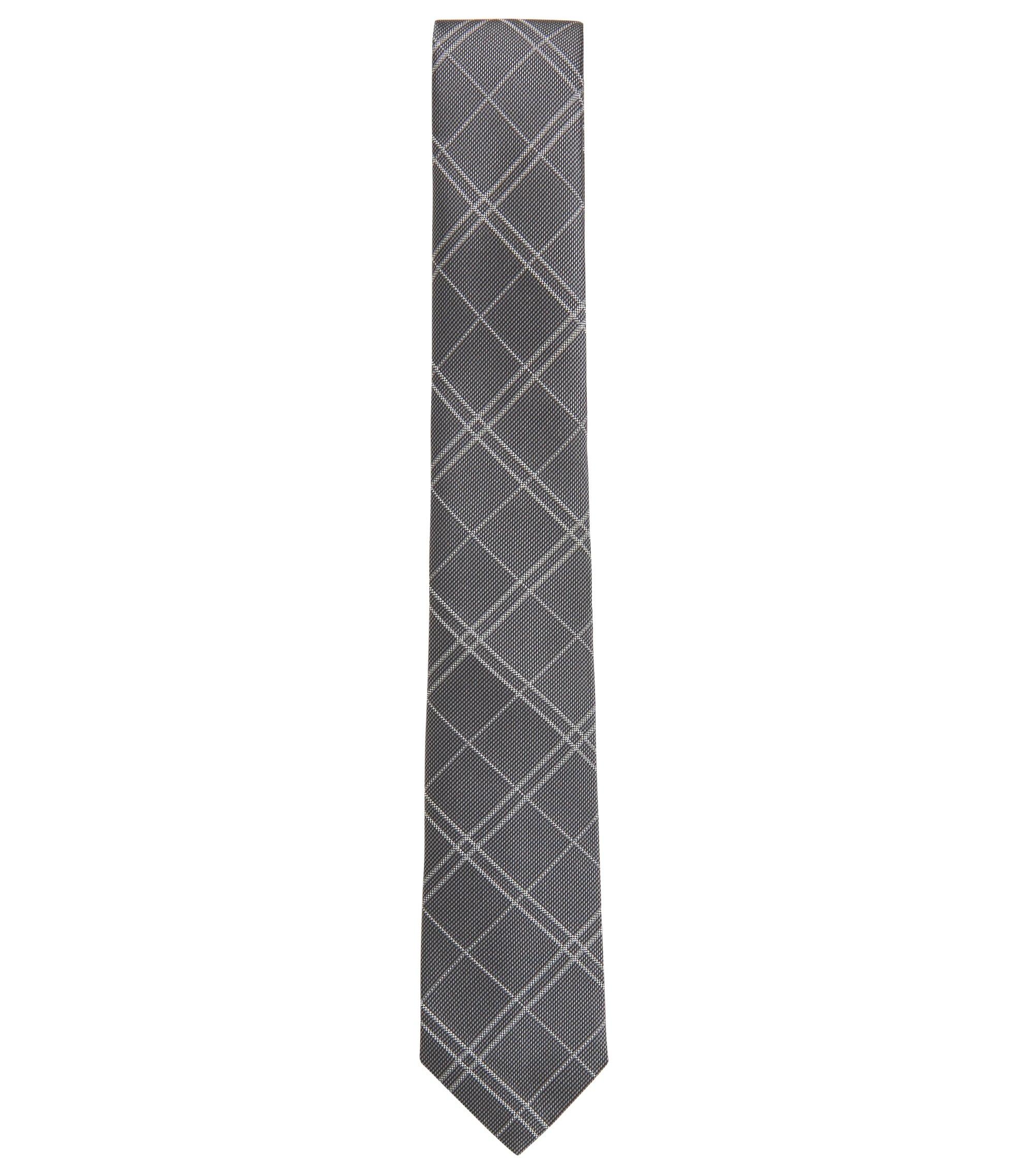 Cravate en jacquard de soie à carreaux, confectionnée à la main, Gris