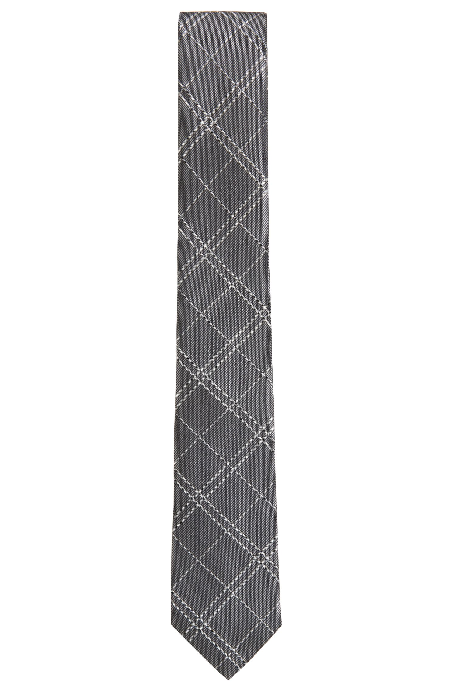 Handmade plain-check tie in silk jacquard