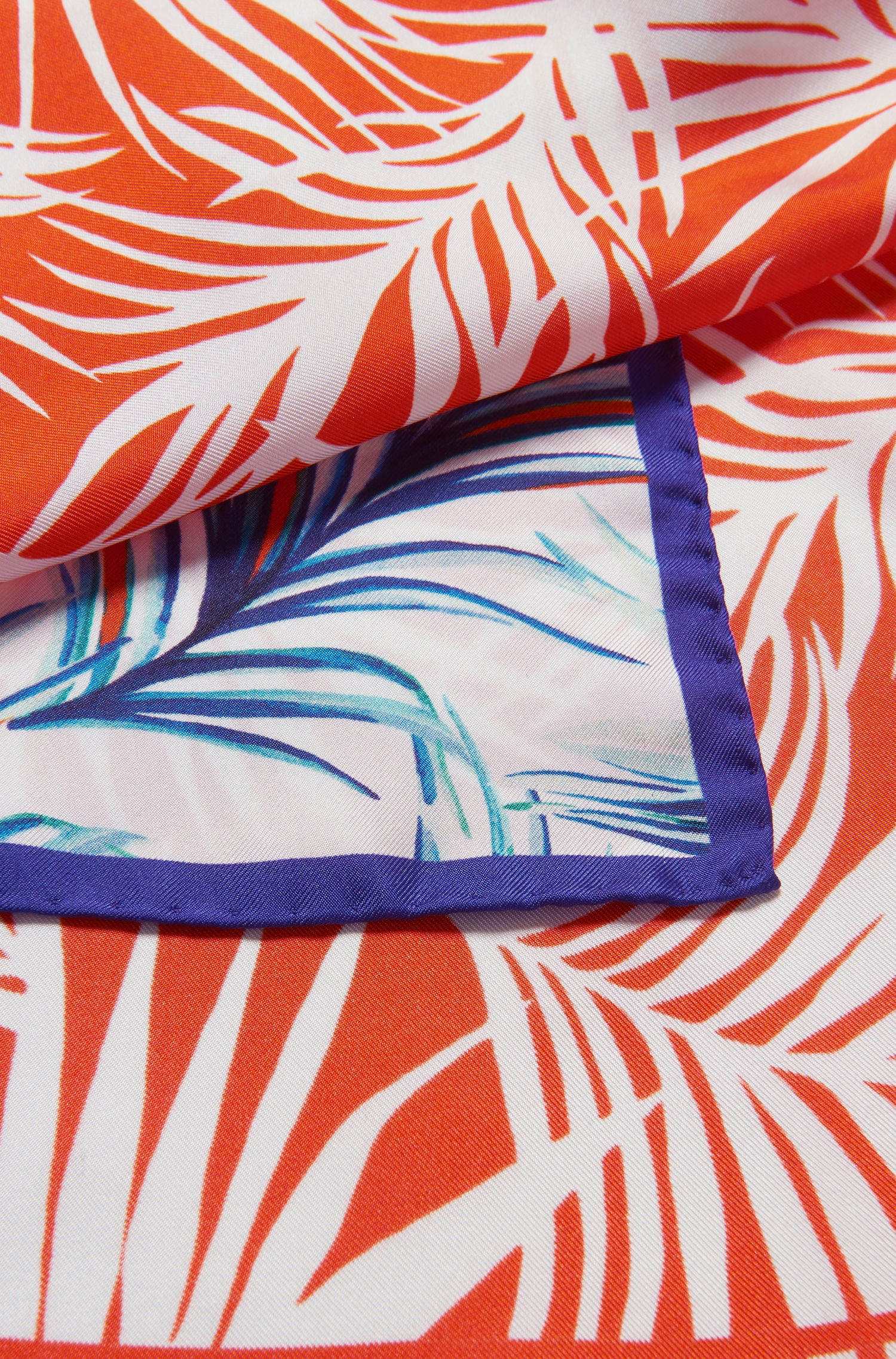 Leaf-print silk scarf with contrast border, Patterned