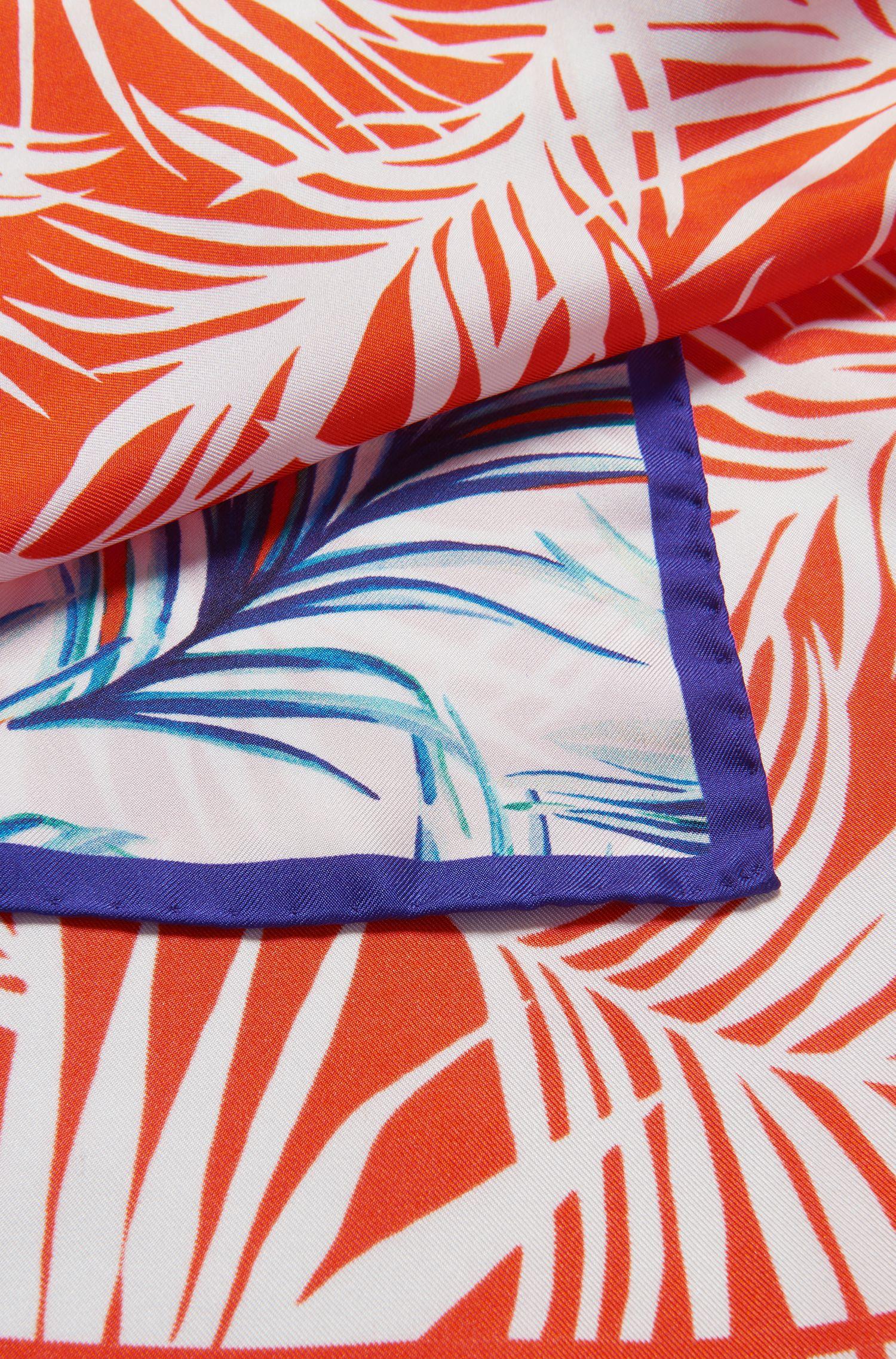 Zijden sjaal met bladprint en contrasterende rand, Bedrukt