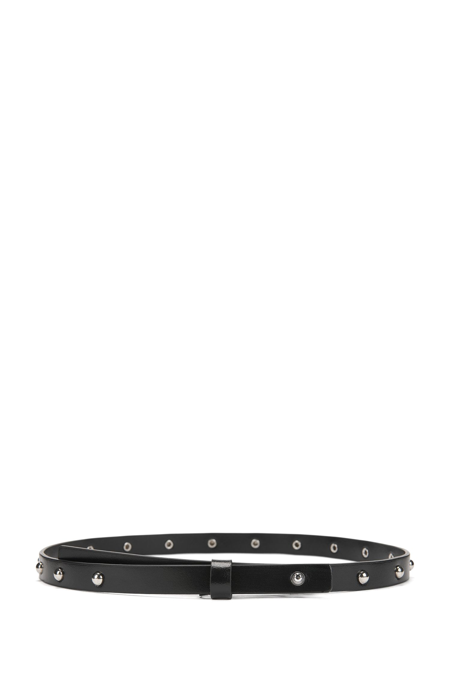 Italian-leather belt with stud detail, Black