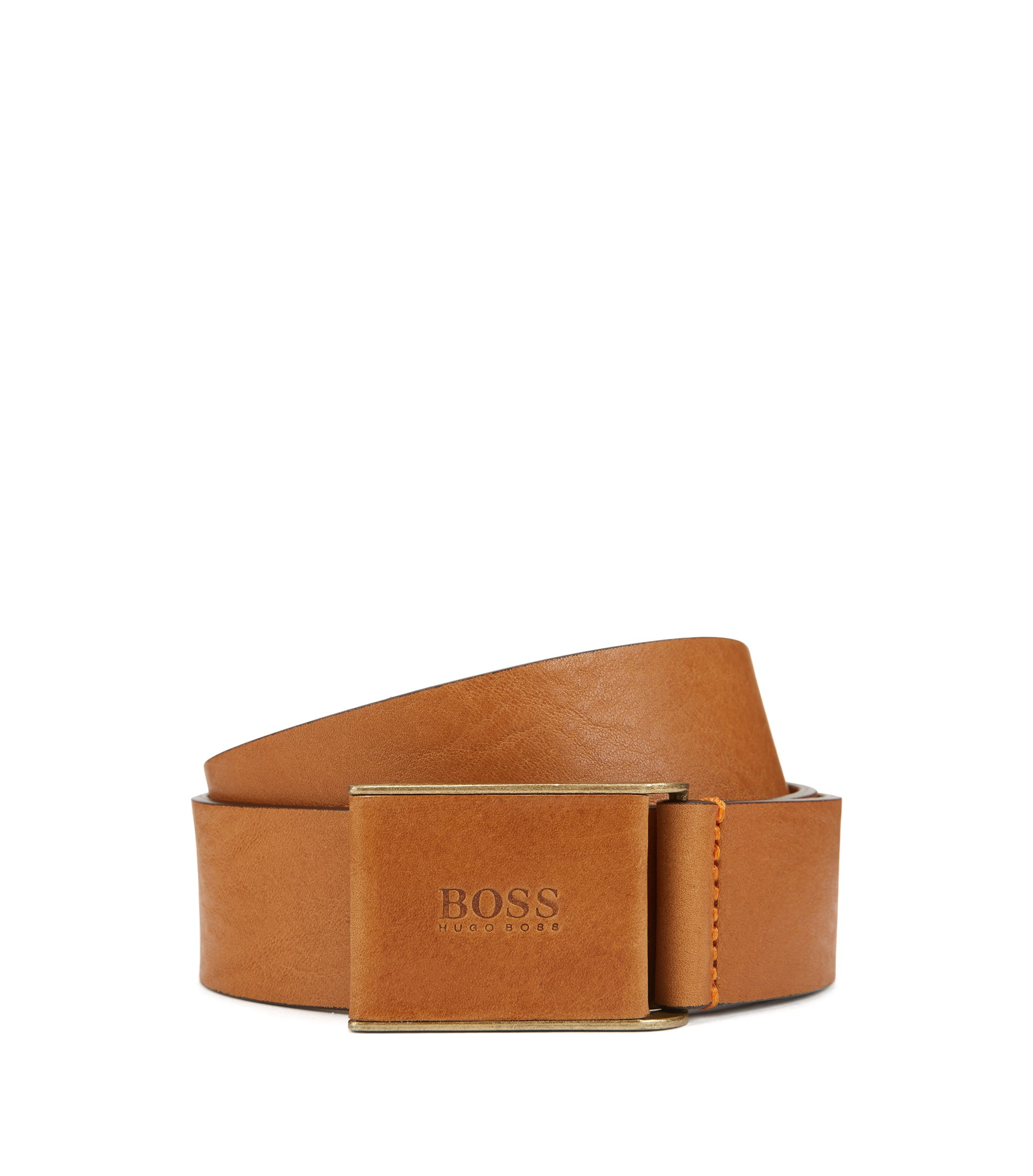 Smooth-leather belt with leather-covered plaque buckle, Brown