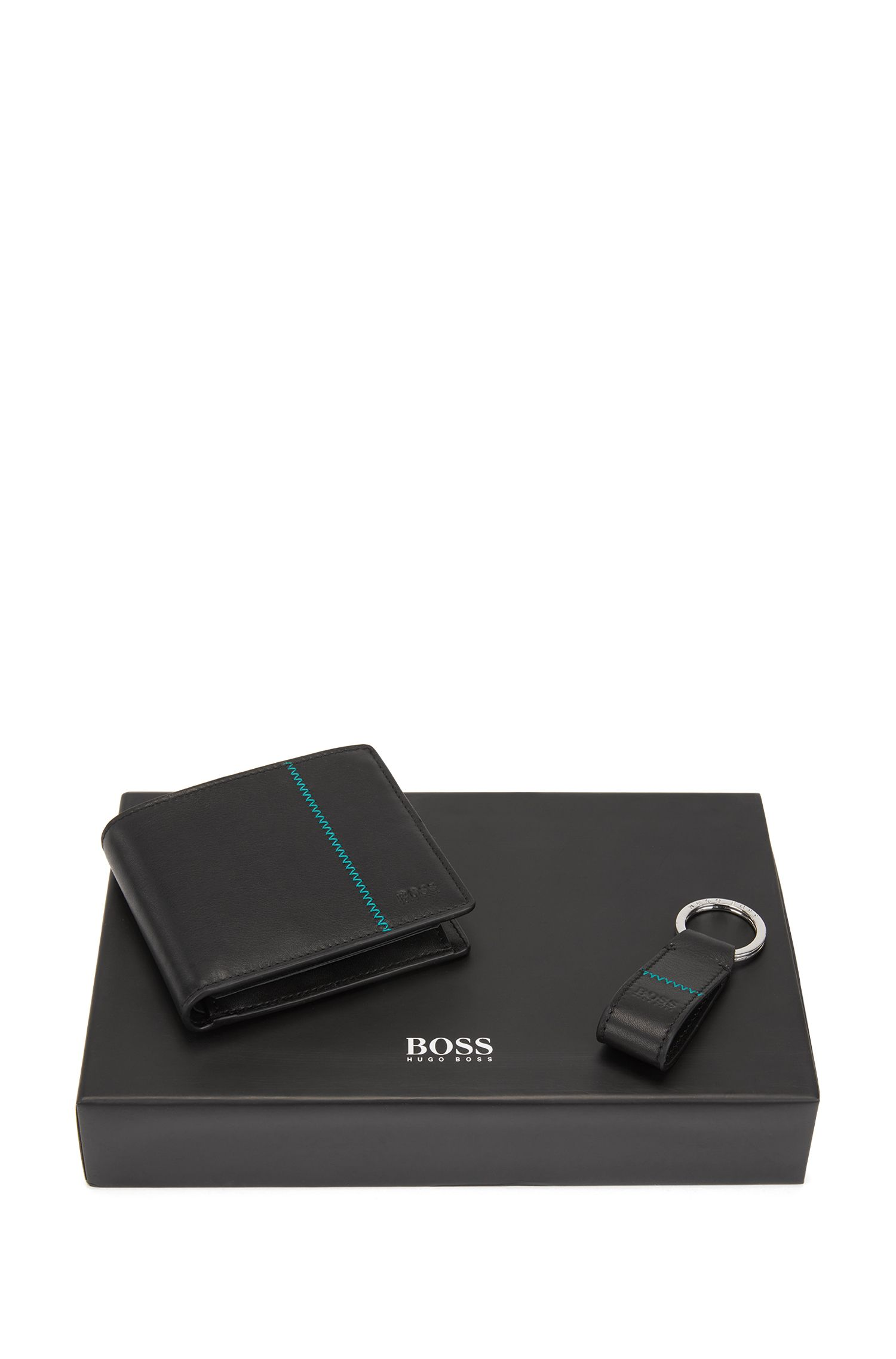 Zigzag-detail leather wallet and key ring gift set, Black