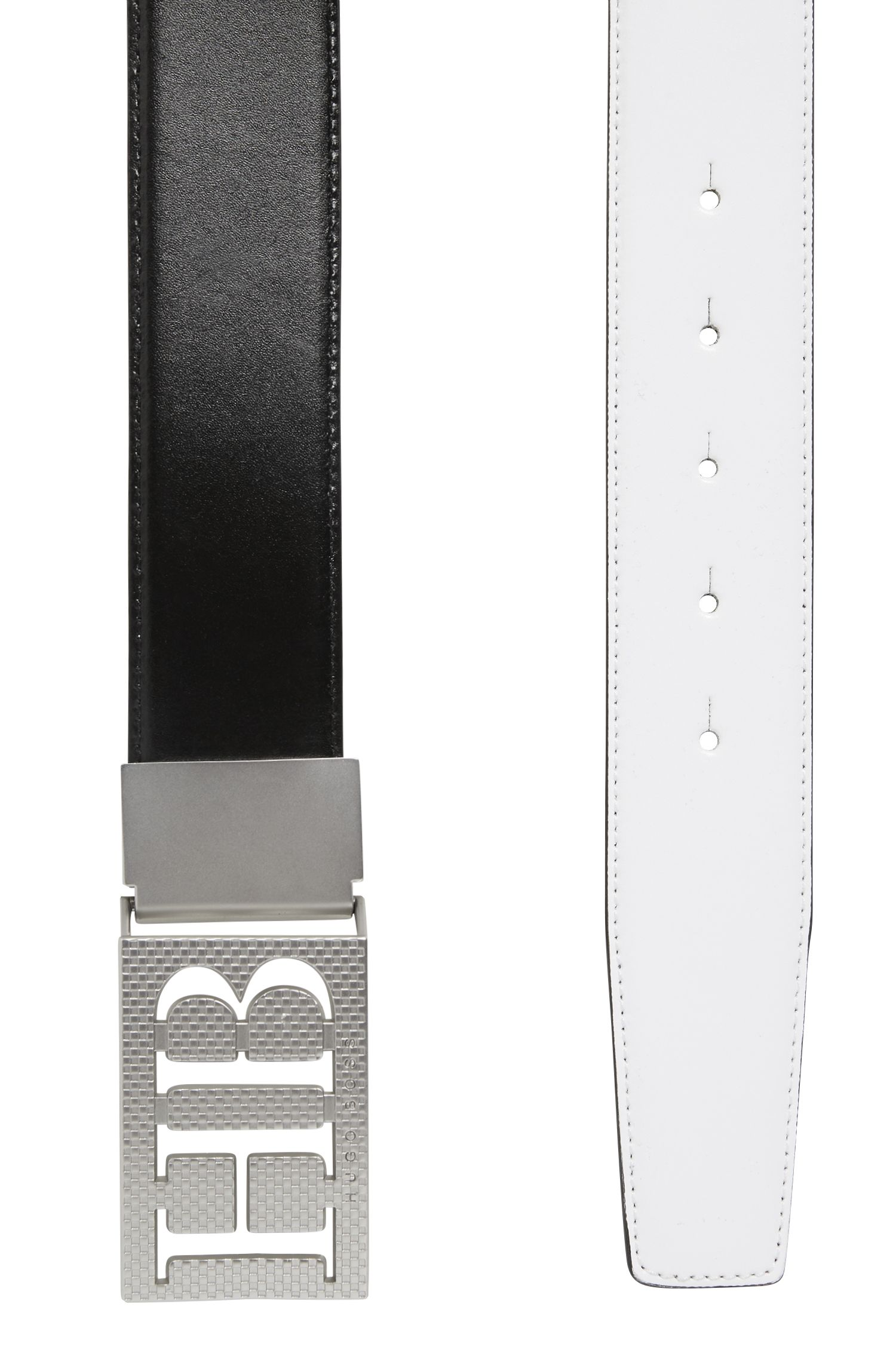 Reversible leather belt with statement plaque closure, Black