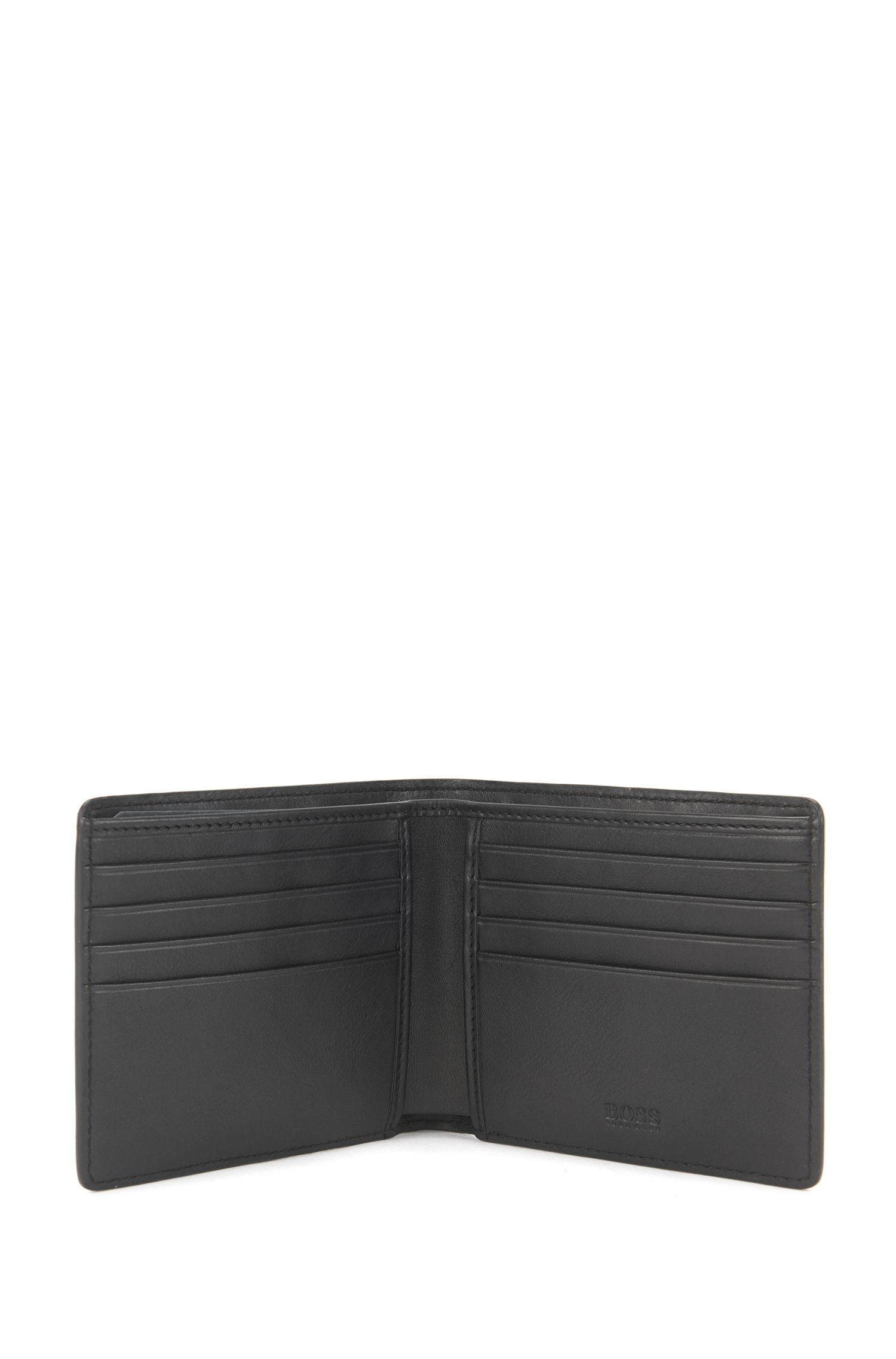 Wallet and card holder gift set in embossed leather, Black