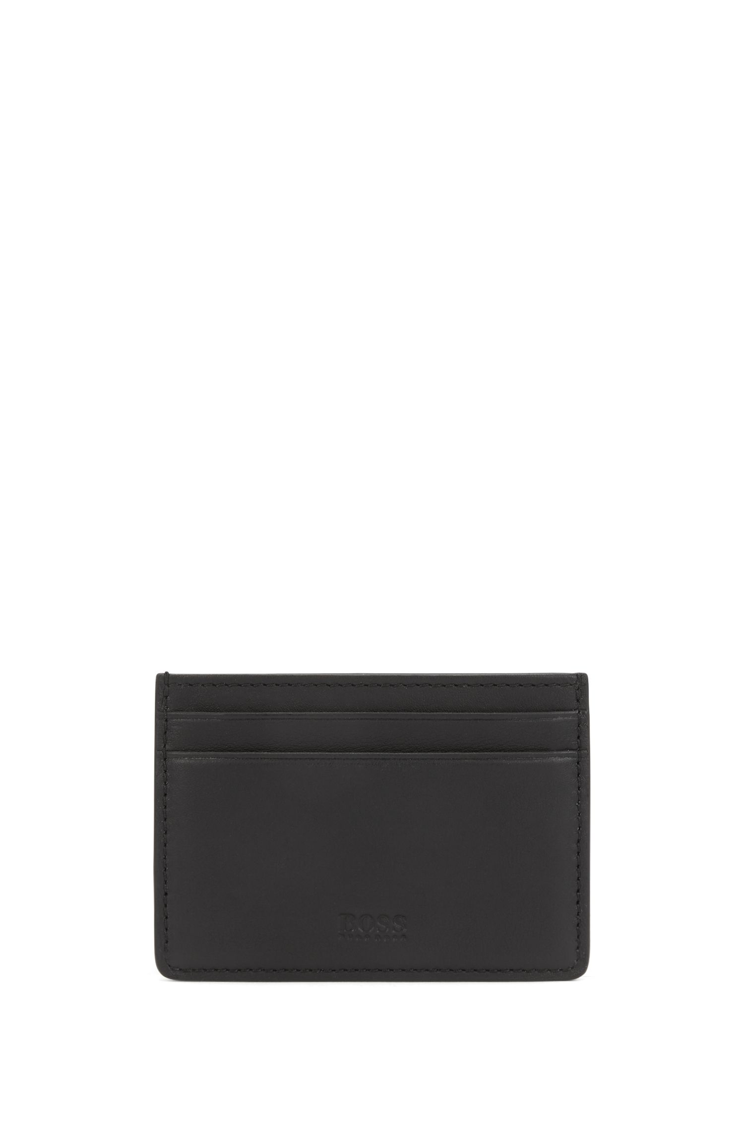 Leather card holder and money clip gift set, Black