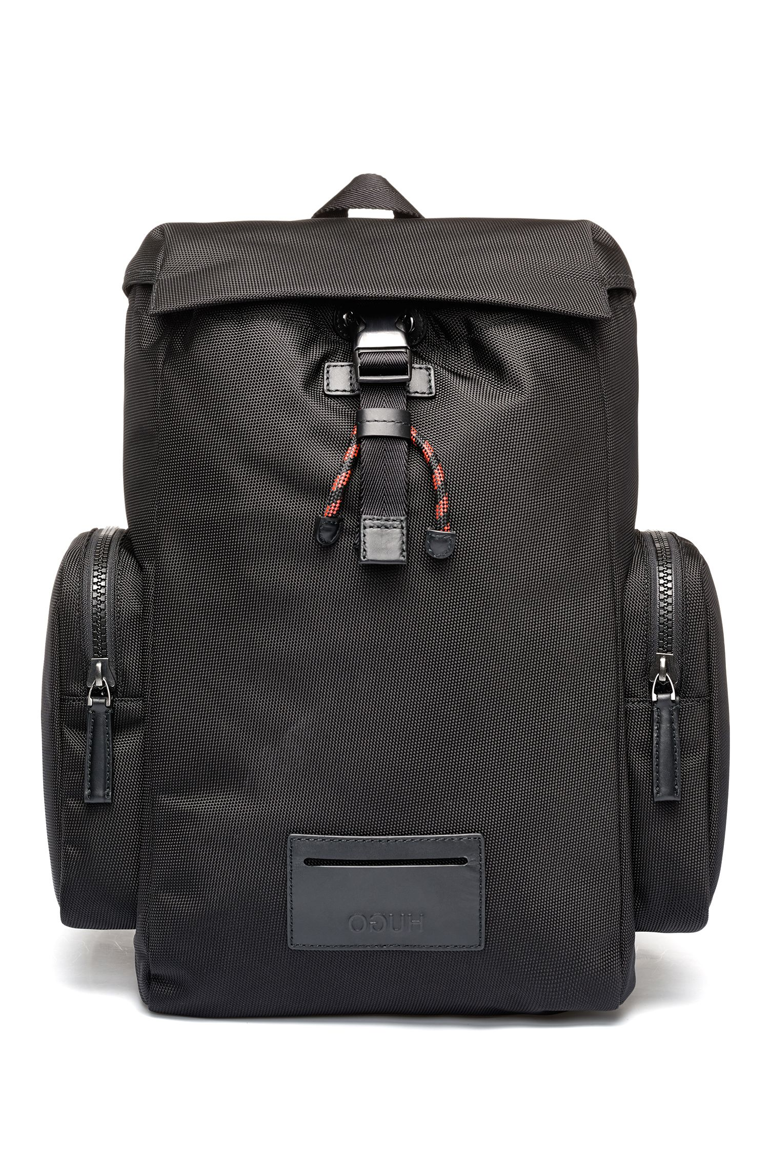 Backpack in nylon with leather trims and reverse logo, Black