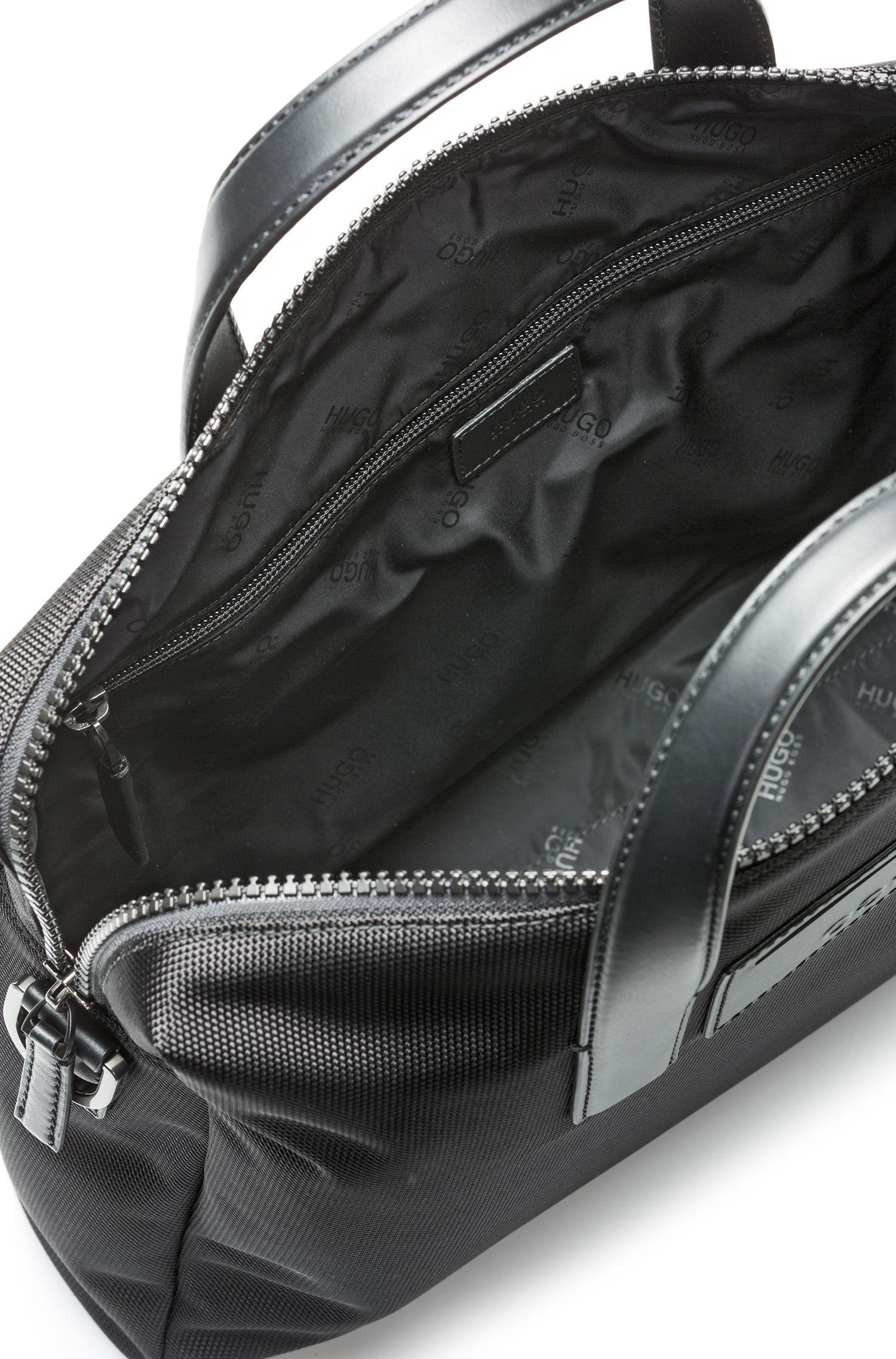 Aktentasche aus Nylon mit Lederbesätzen, Schwarz
