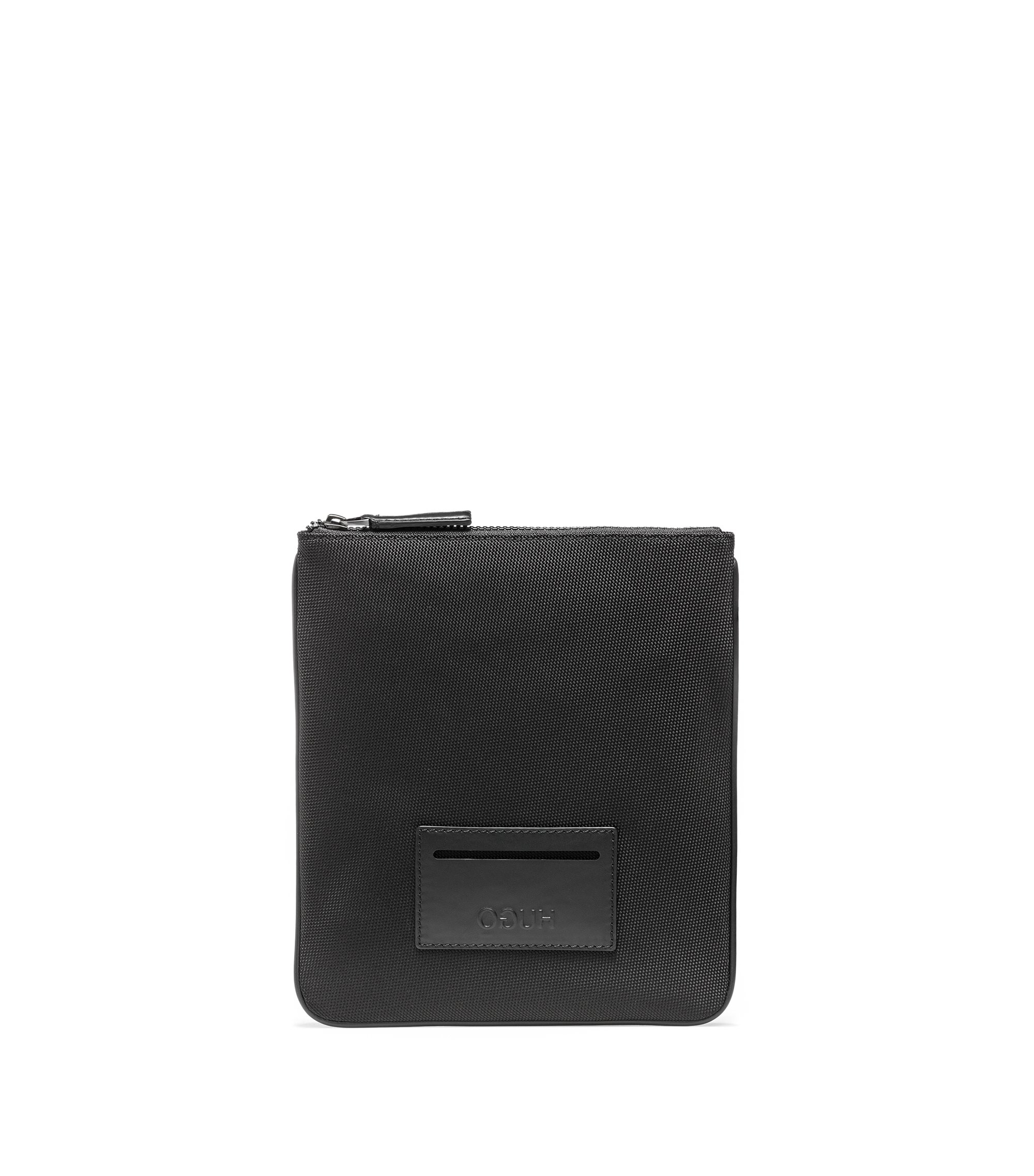 Envelope bag with leather trims, Black