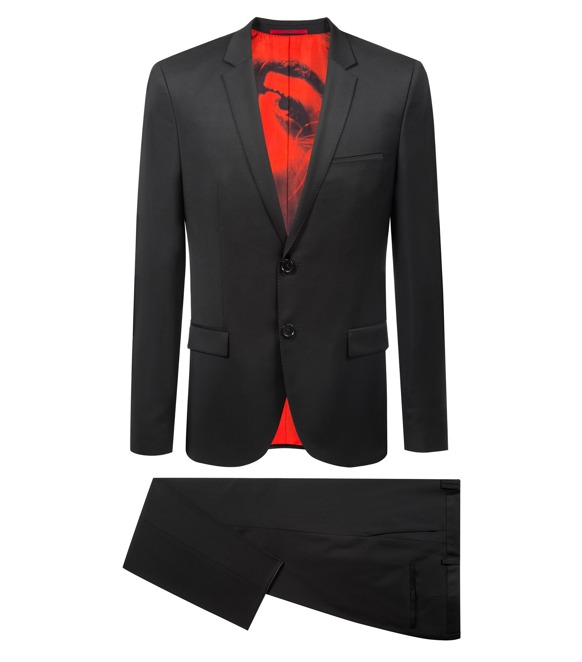 Extra-slim-fit suit in wool with feature lining, Black