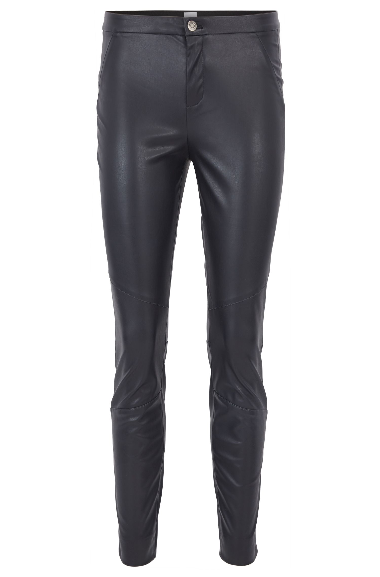 Slim-fit trousers in faux leather