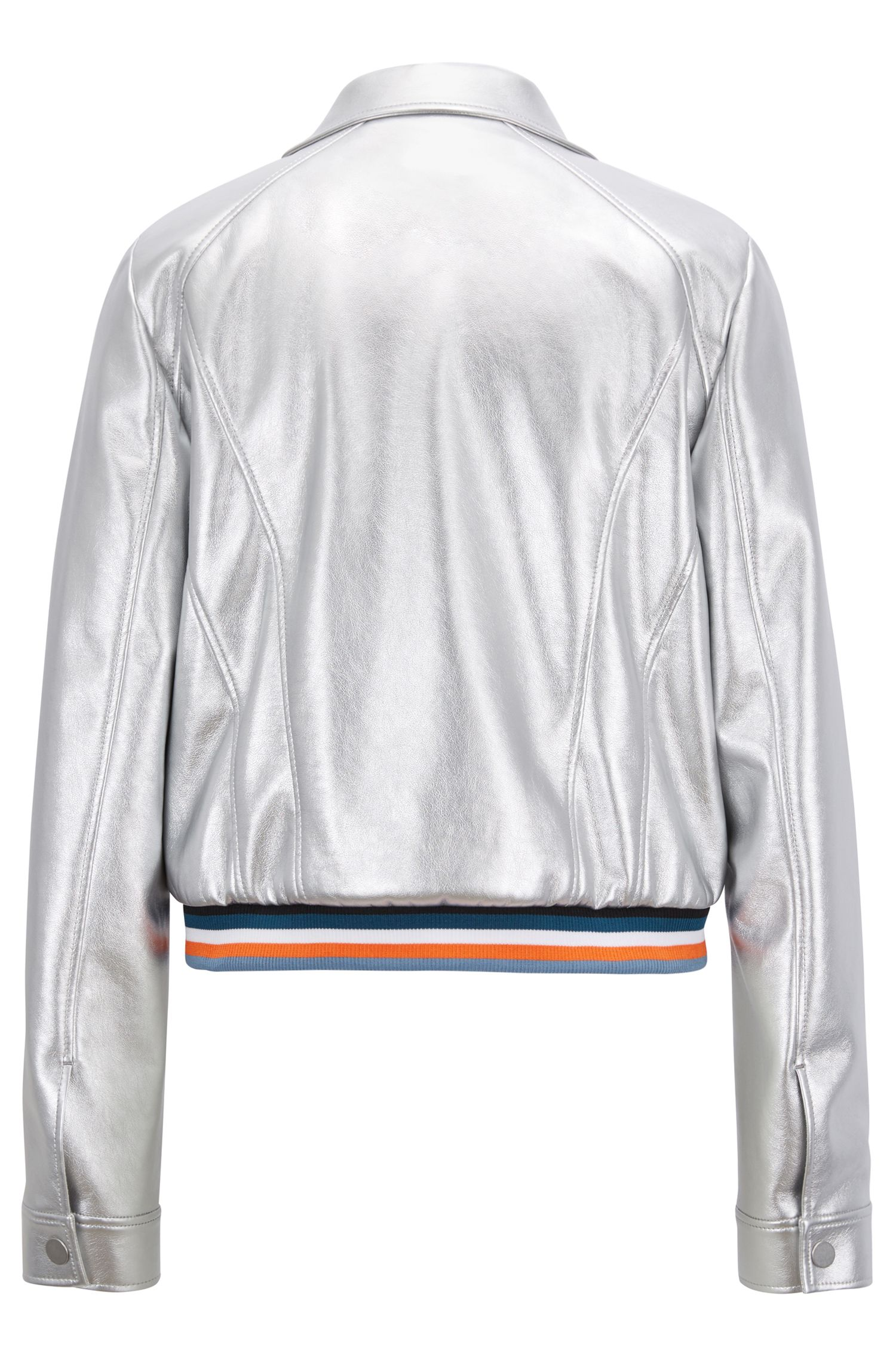 Regular-fit jacket in metallic faux leather, Silver