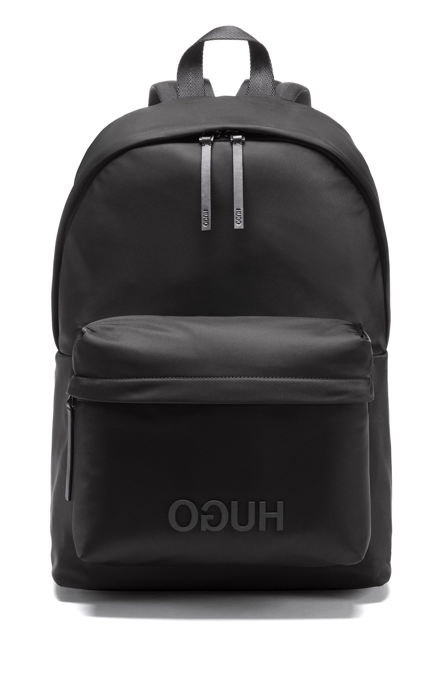 Reversed-logo backpack in nylon gabardine, Black