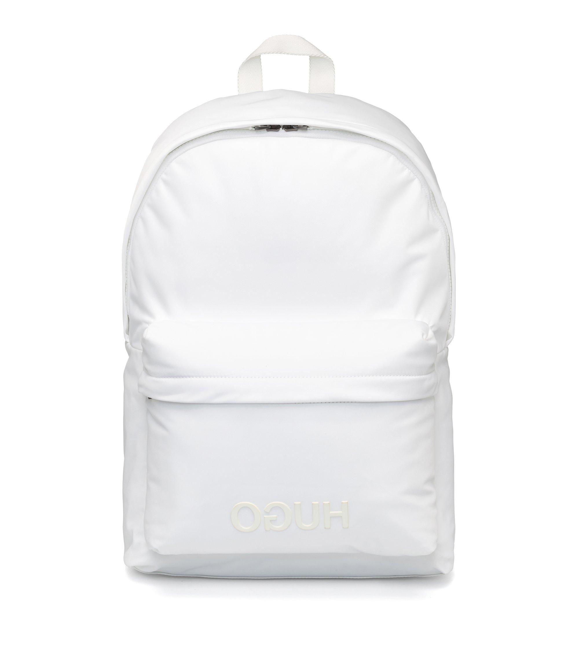 Rucksack aus Nylon-Gabardine mit Reversed-Logo, Weiß