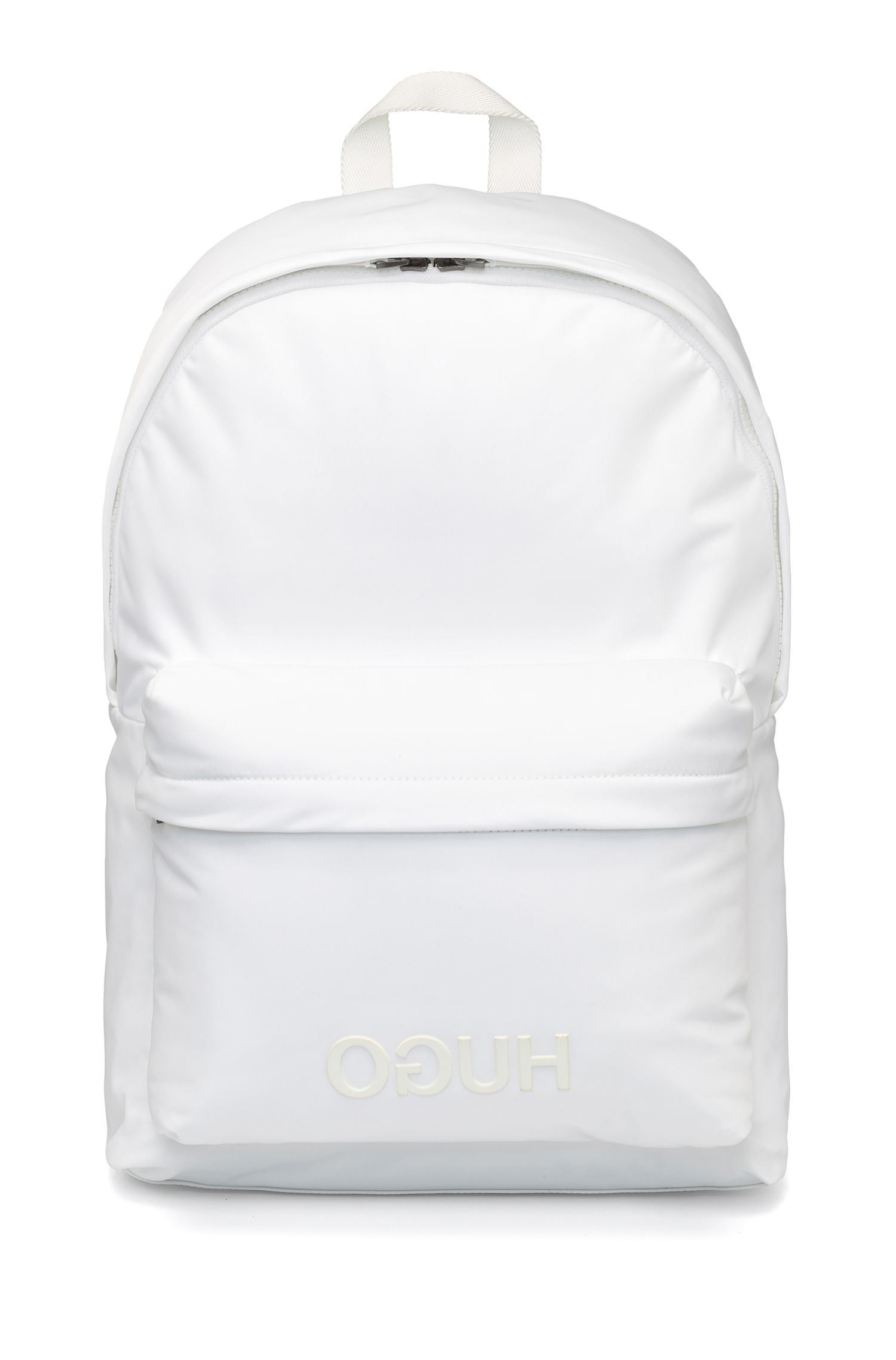 Rugtas in een gabardine van technisch materiaal met gespiegeld logo, Wit