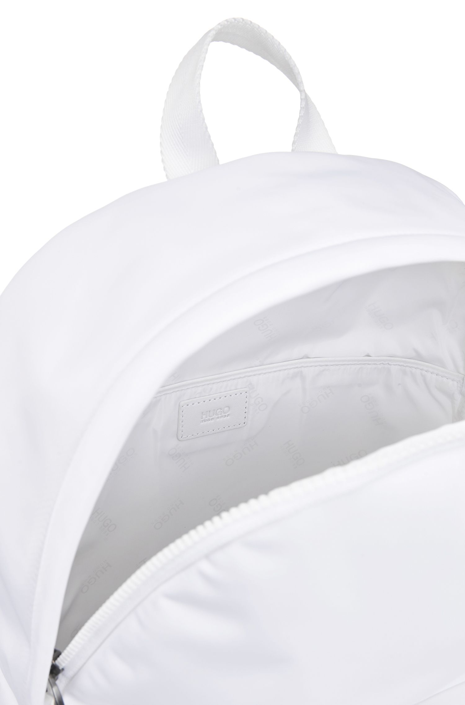 Reversed-logo backpack in nylon gabardine, White