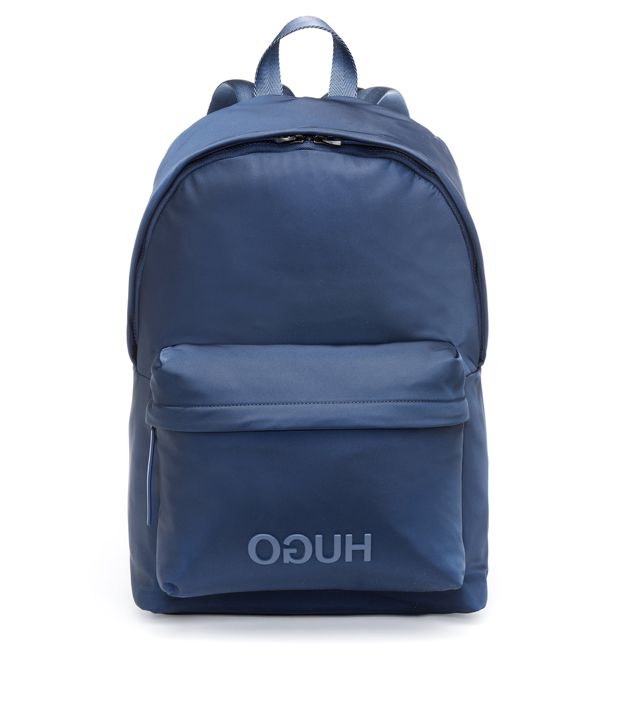 Reversed-logo backpack in nylon gabardine, Dark Blue