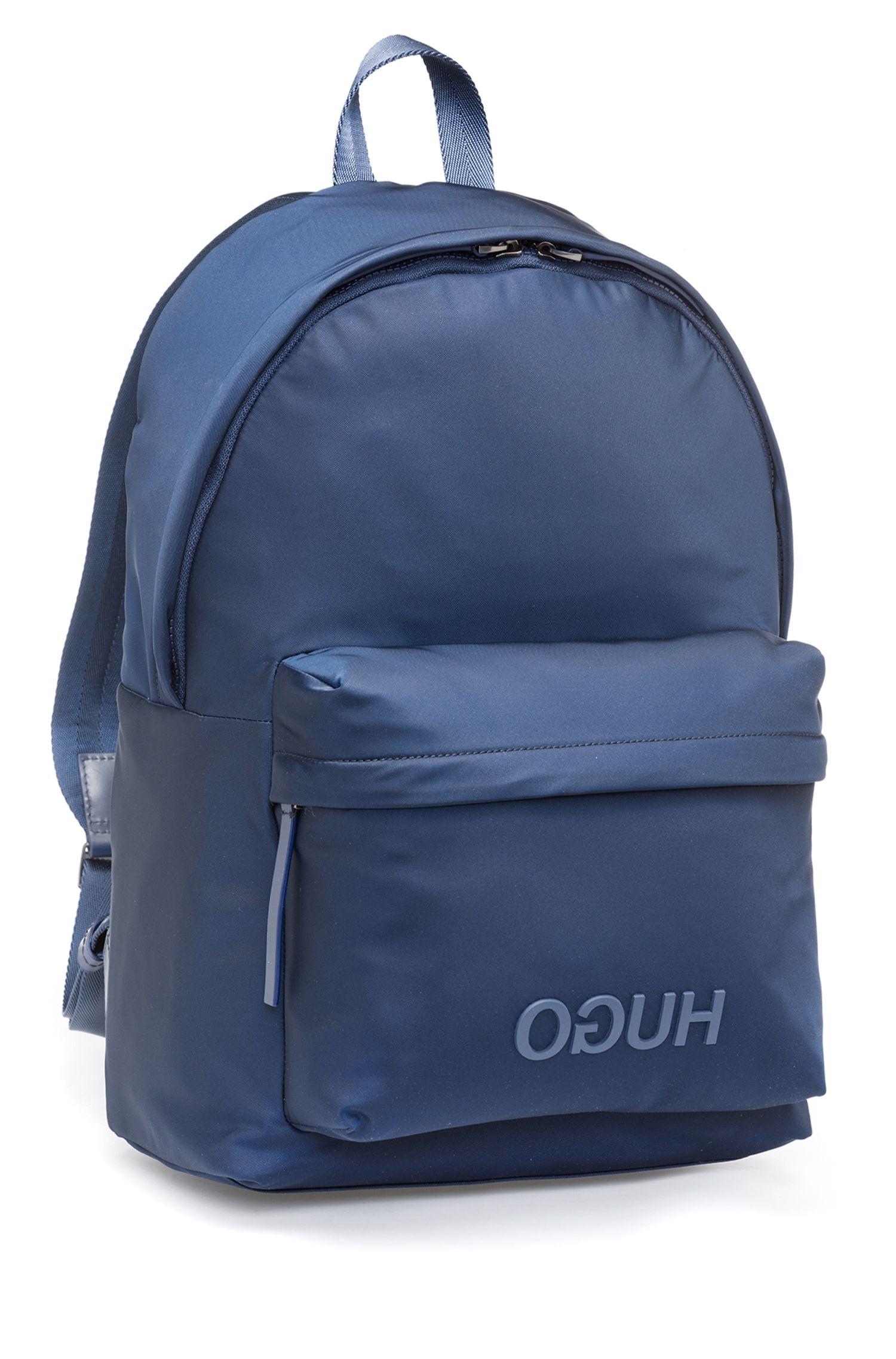Rugtas in een gabardine van technisch materiaal met gespiegeld logo, Donkerblauw
