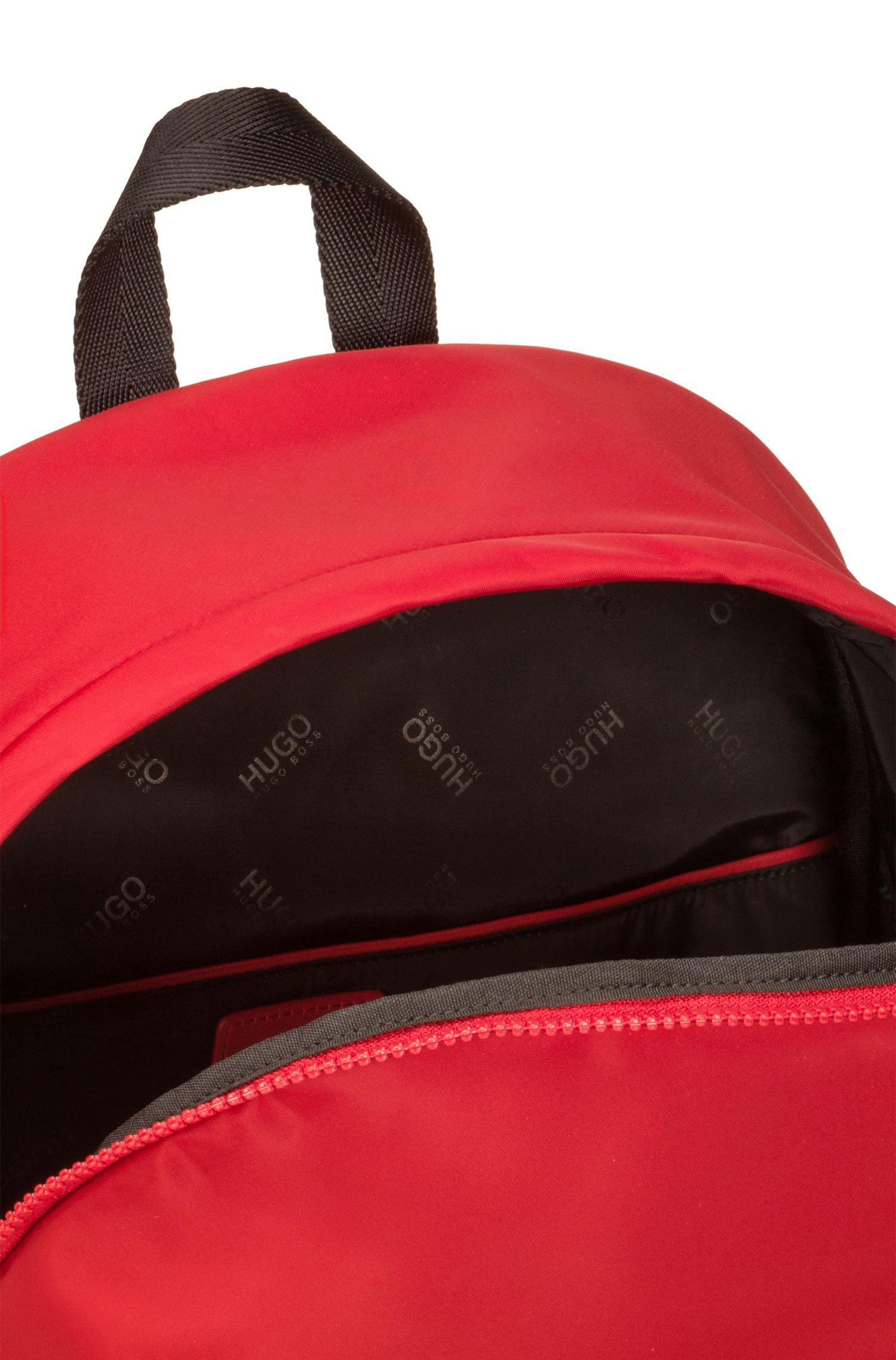 Reversed-logo backpack in nylon gabardine, Red
