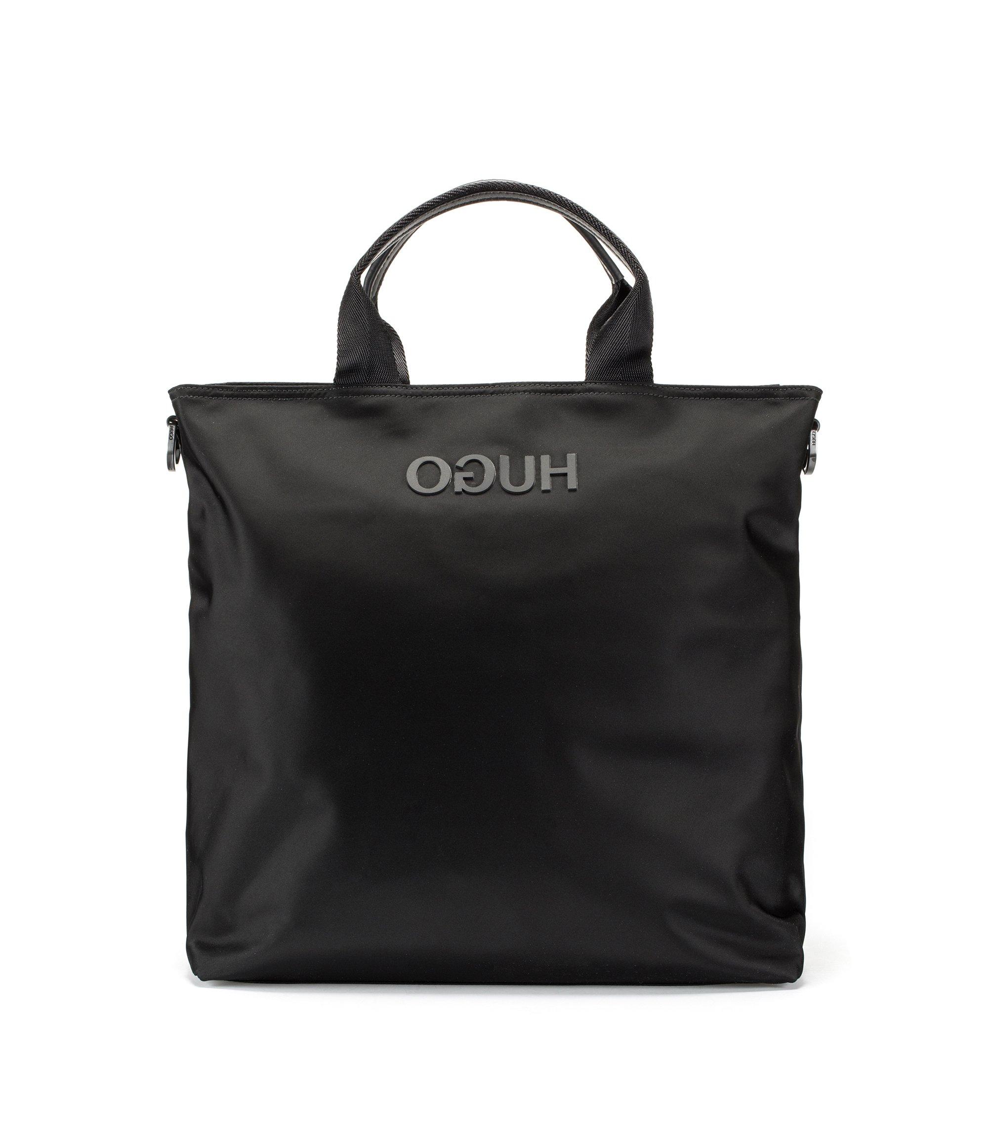 Tote Bag aus Nylon-Gabardine mit gummiertem Reversed-Logo, Schwarz