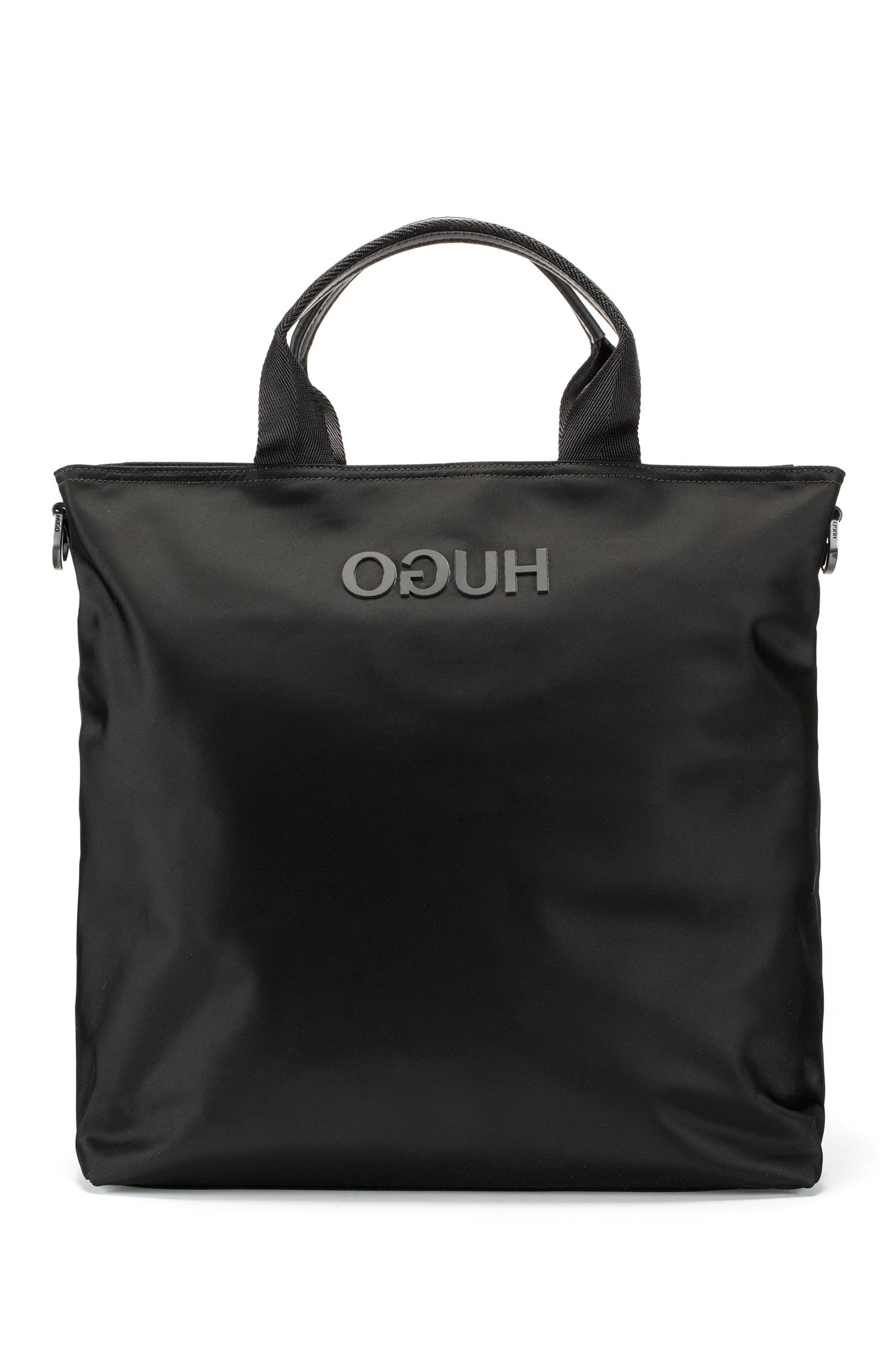 Record-style tote bag with rubberised reverse logo, Black